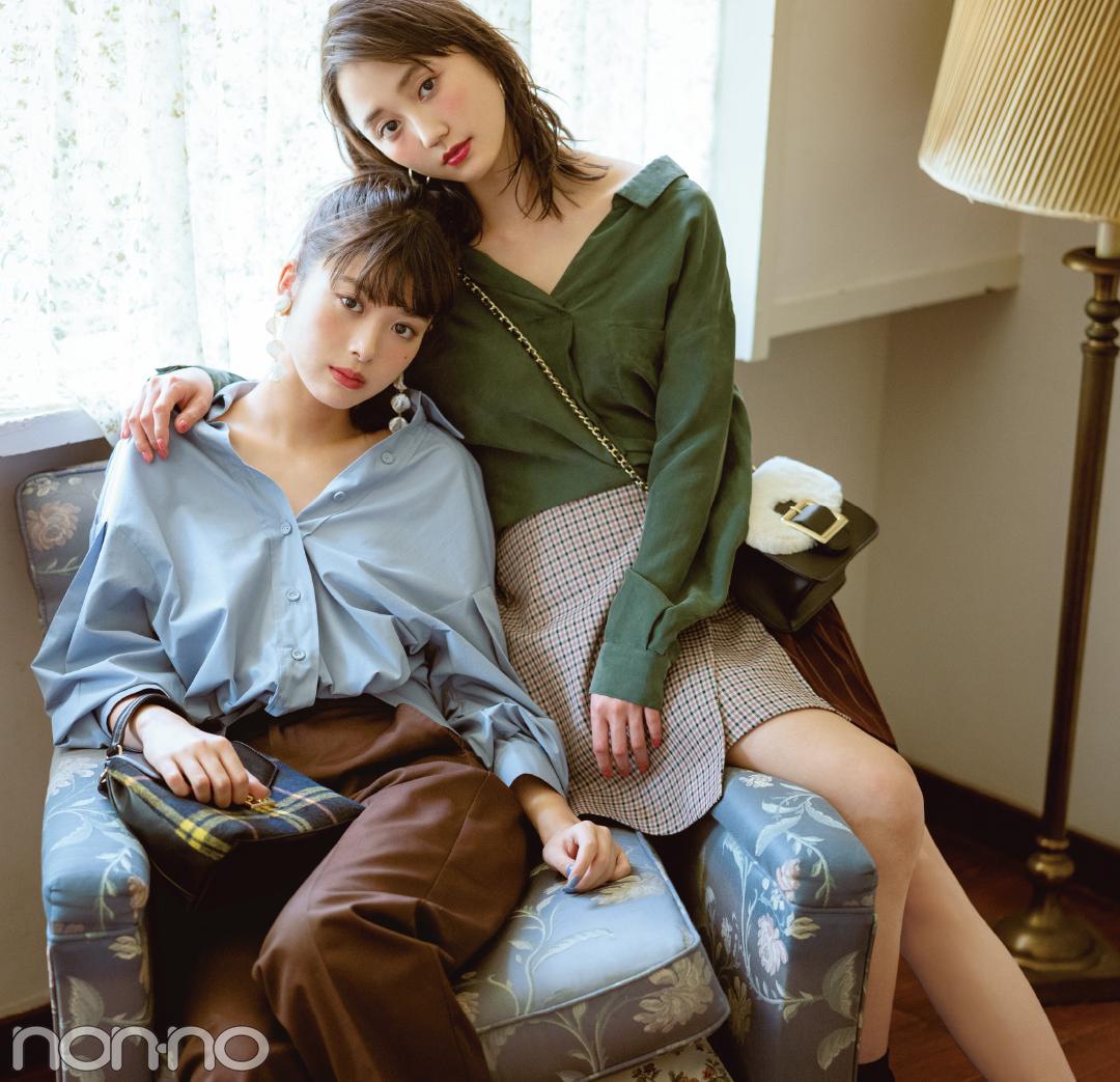 馬場ふみか&鈴木友菜の秋は、ゆるく着こなす女っぽシャツ!_1_1