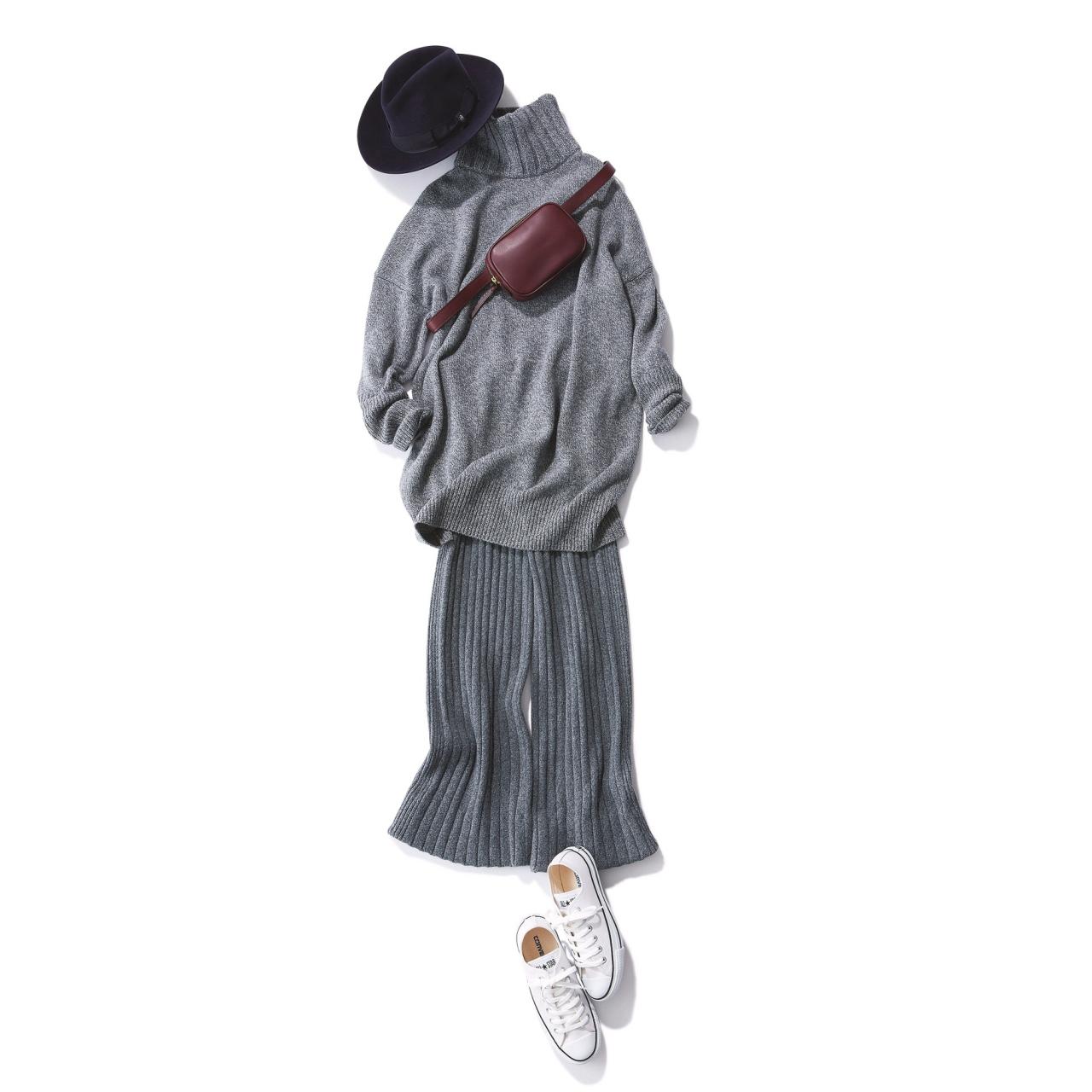 ワイドシルエットのパンツ×スニーカーのファッションコーデ