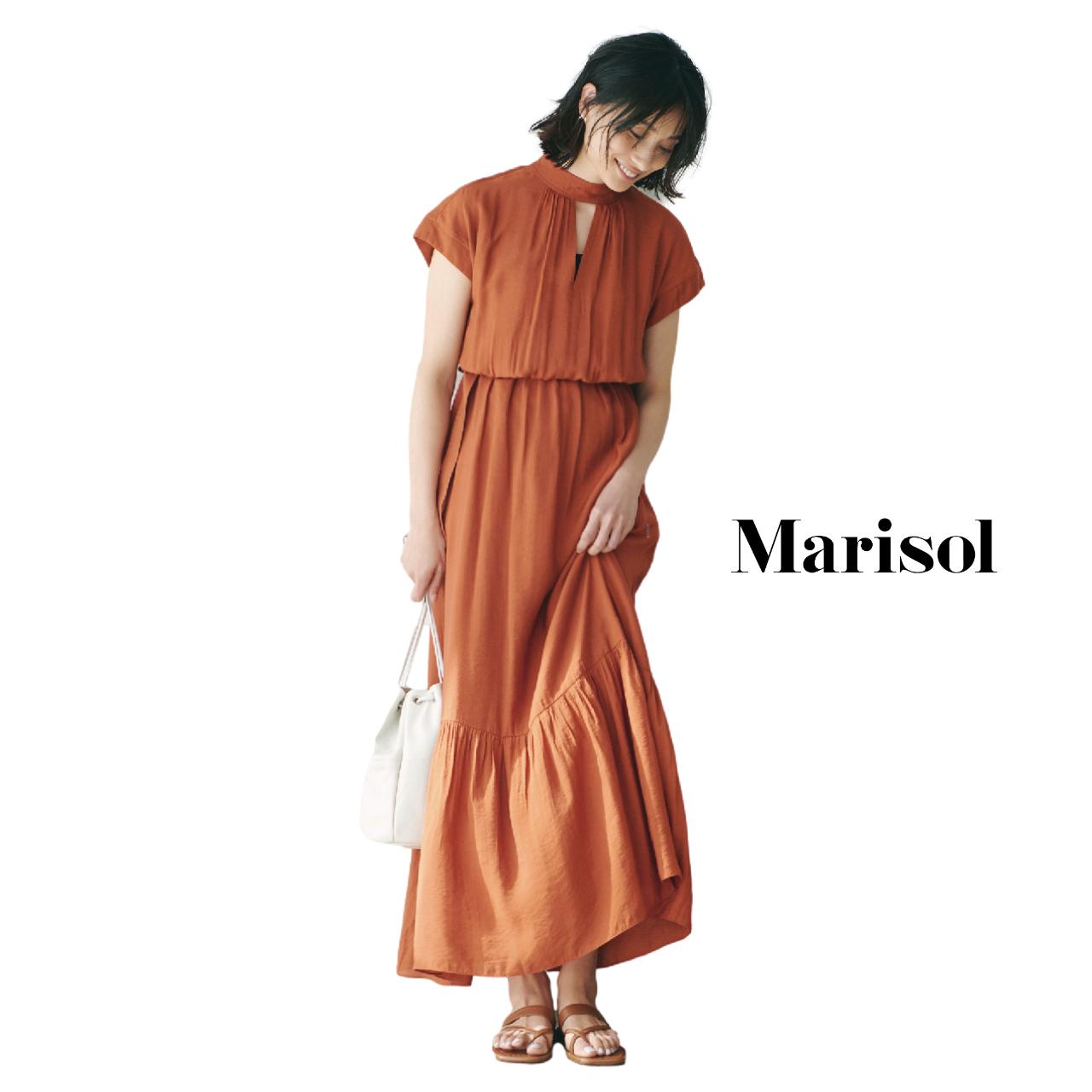 40代ファッション  オレンジワンピースコーデ