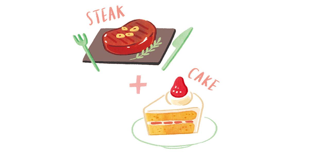 ステーキとケーキ