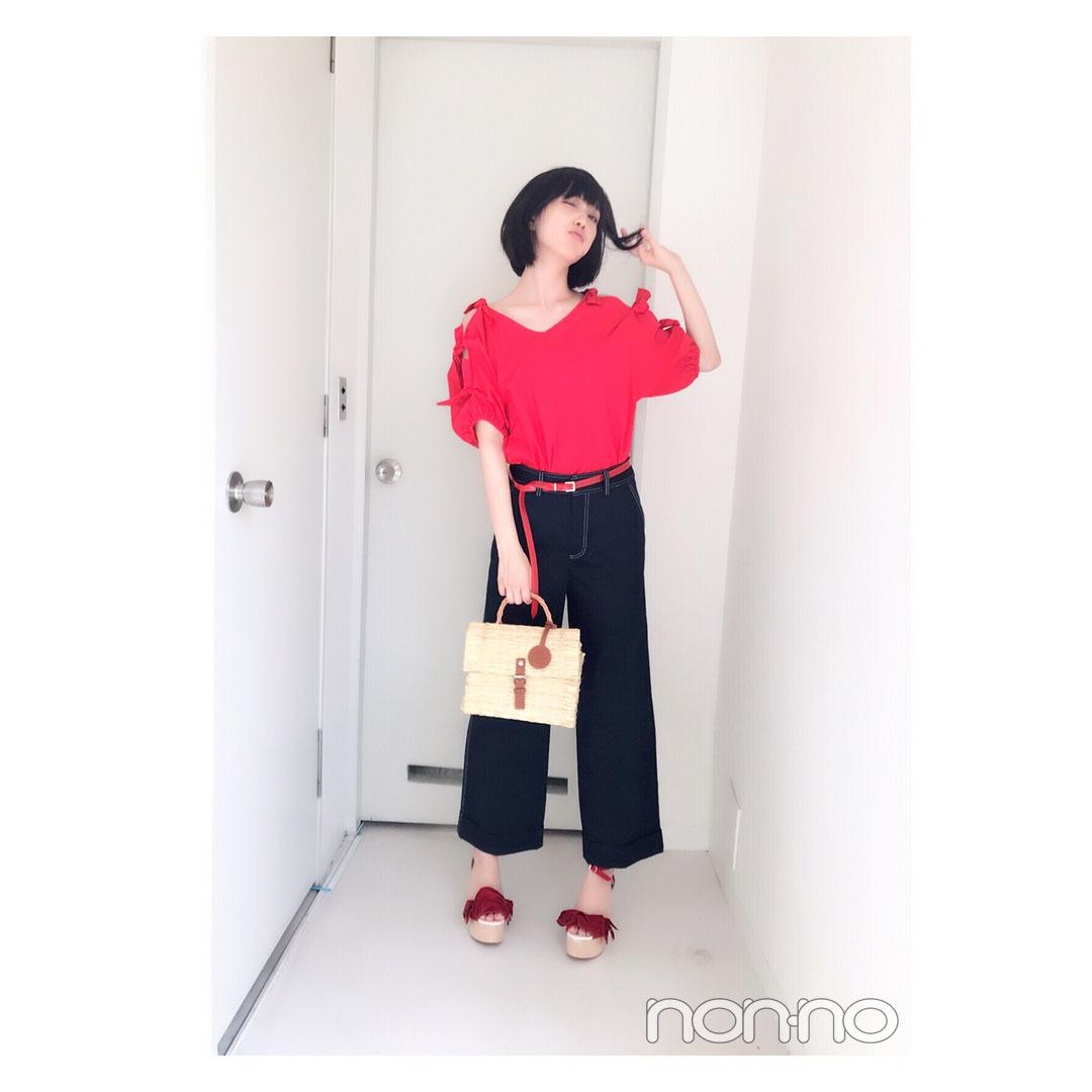本田翼の赤×ネイビーコーデは抜け感たっぷり♡【毎日コーデ】_1_1