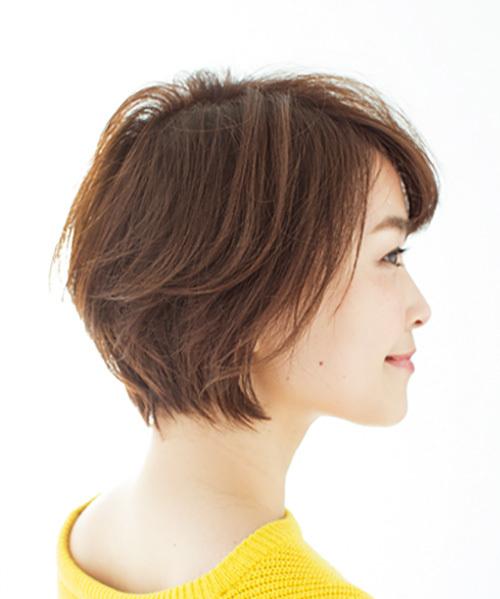 丸いフォルムとふんわり毛流れが女らしい、華やかショート【40代のショートヘア】_1_1-2