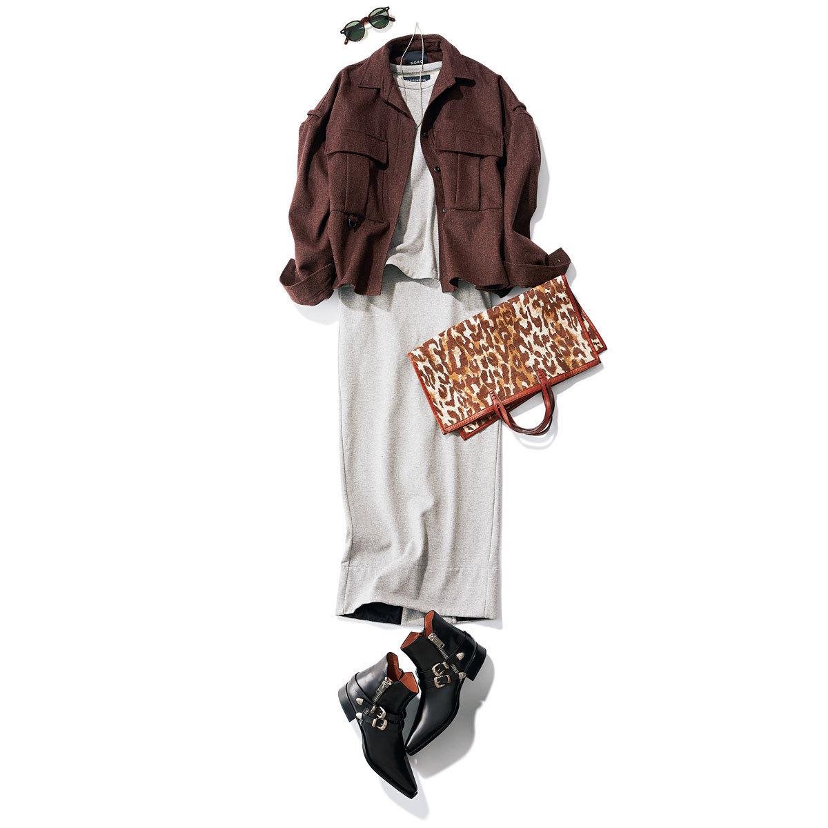 CPOジャケット×スウェットスカートのブラウンコーデ
