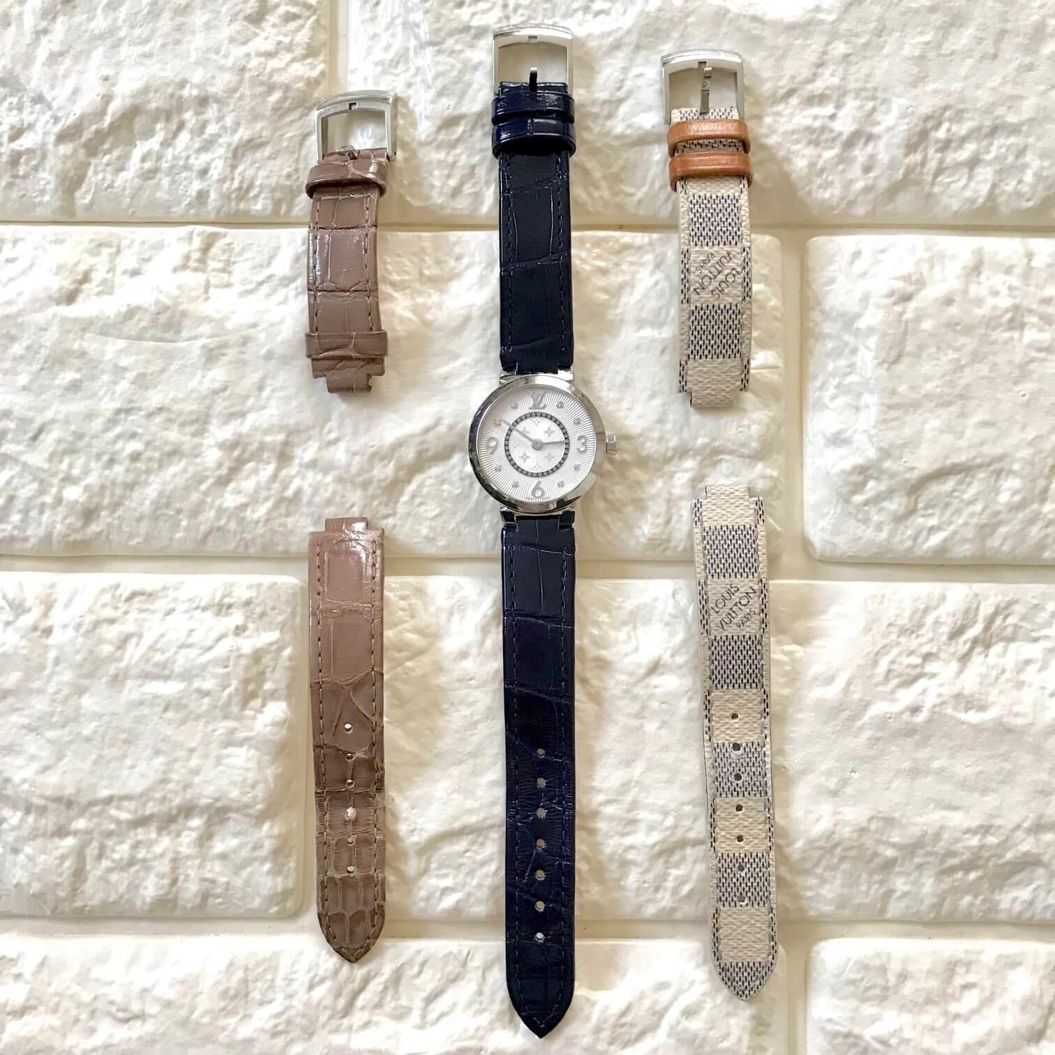 ルイヴィトンの時計とストラップを並べた画像