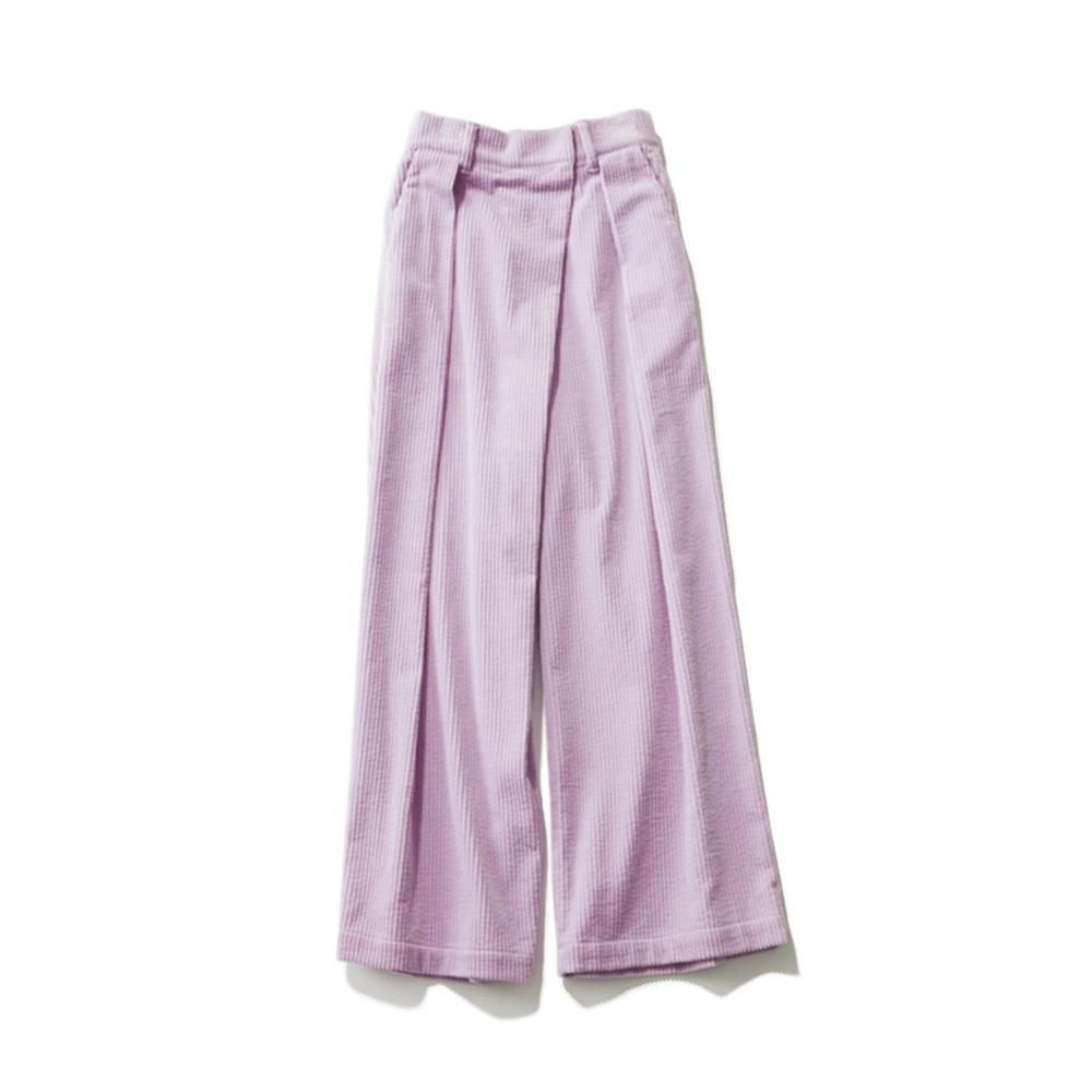 ファッション カレンテージのラベンダー色コーデュロイパンツ