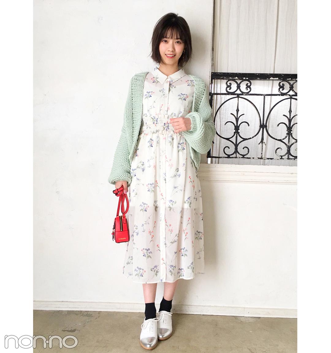 西野七瀬は花柄ワンピ×差し色バッグの上級生コーデ【毎日コーデ】_1_1