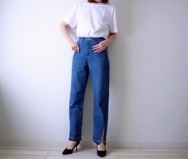 【竹下玲奈さんモデル】ストレートデニムパンツ カットオフ 中色ブルー