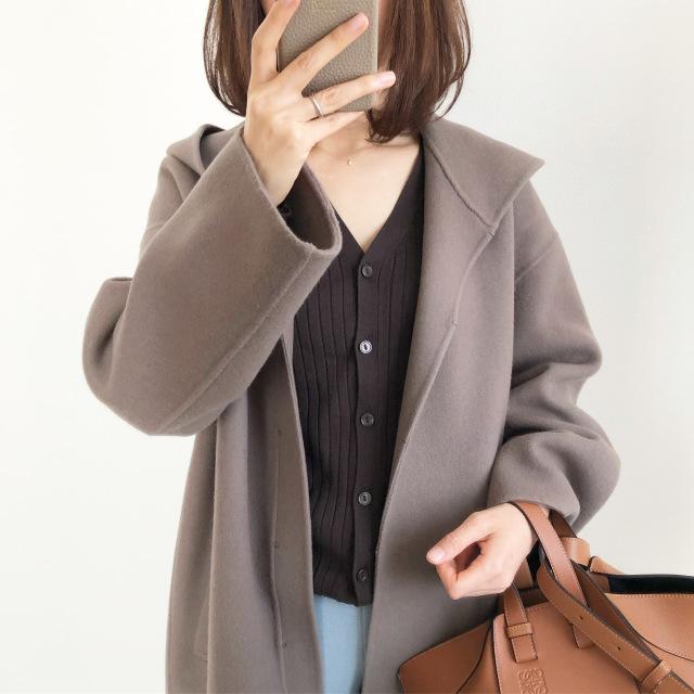 『GU』ワイドリブVネックカーディガン着回し【tomomiyuコーデ】_1_3