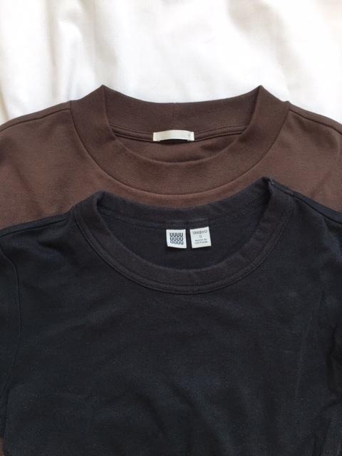 ユニクロクルーネックTシャツとGUスムースTシャツの比較 ネックライン