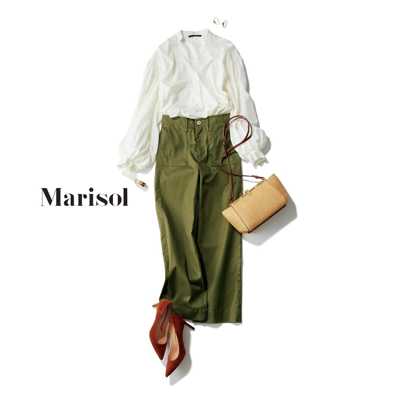 ファッション ×ワイドパンツコーデ白ブラウス