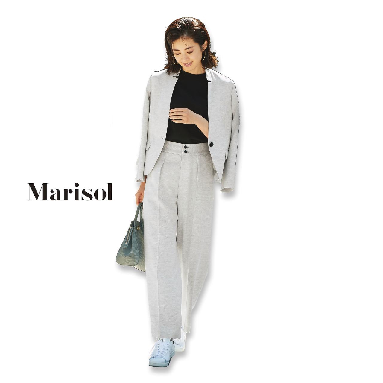 40代ファッション ジャケット×ワイドパンツ×スニーカーコーデ