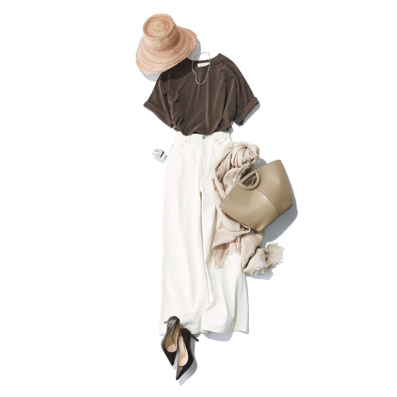 「ストール」でアラフォーの夏コーデをブラッシュアップ! 冷房対策にもおしゃれにも効くストールの取り入れ方  40代ファッション_1_2