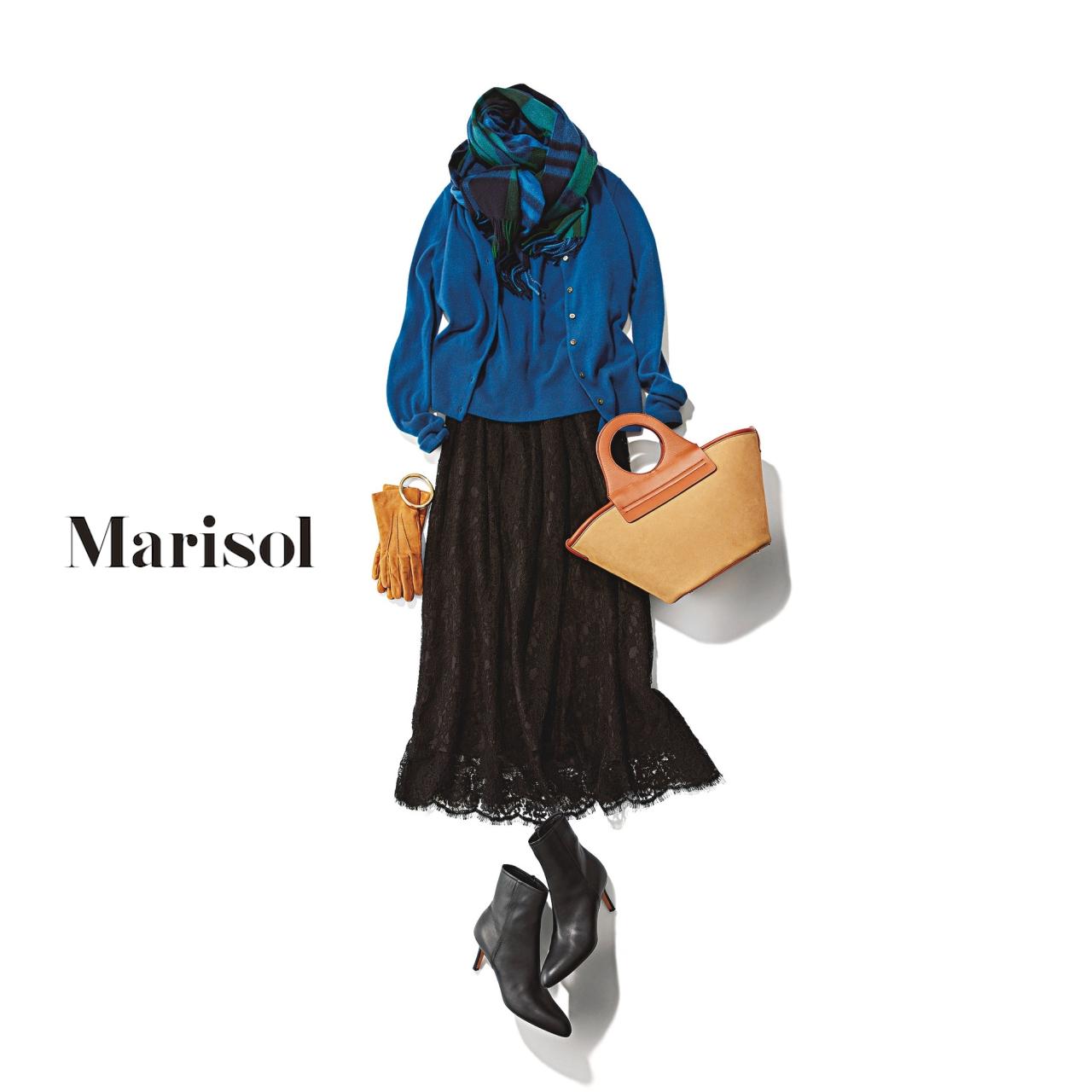 40代ファッション ツインニット×黒レーススカート×ストールコーデ