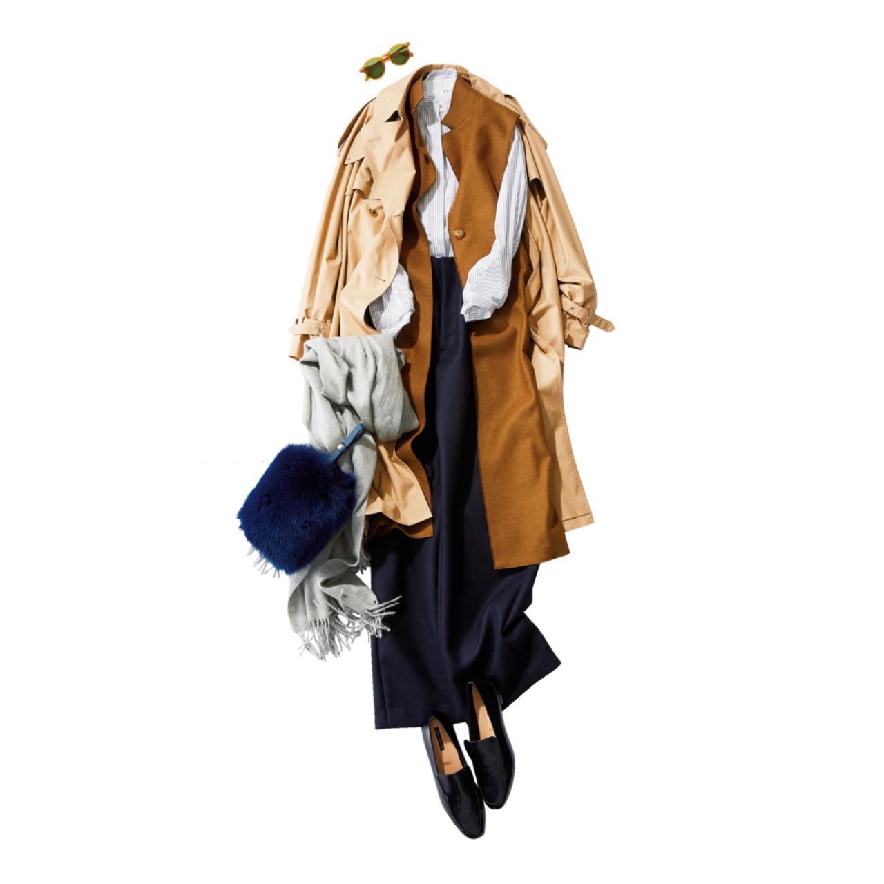 ベージュのトレンチコート×ロングジレ&パンツのファッションコーデ