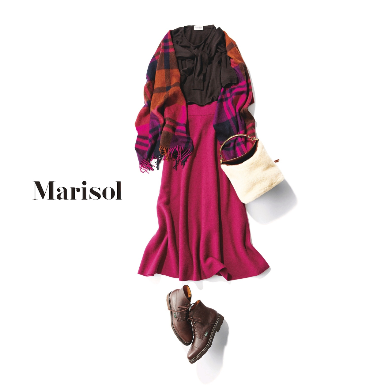 40代ファッション ツインニット×ピンクスカートコーデ