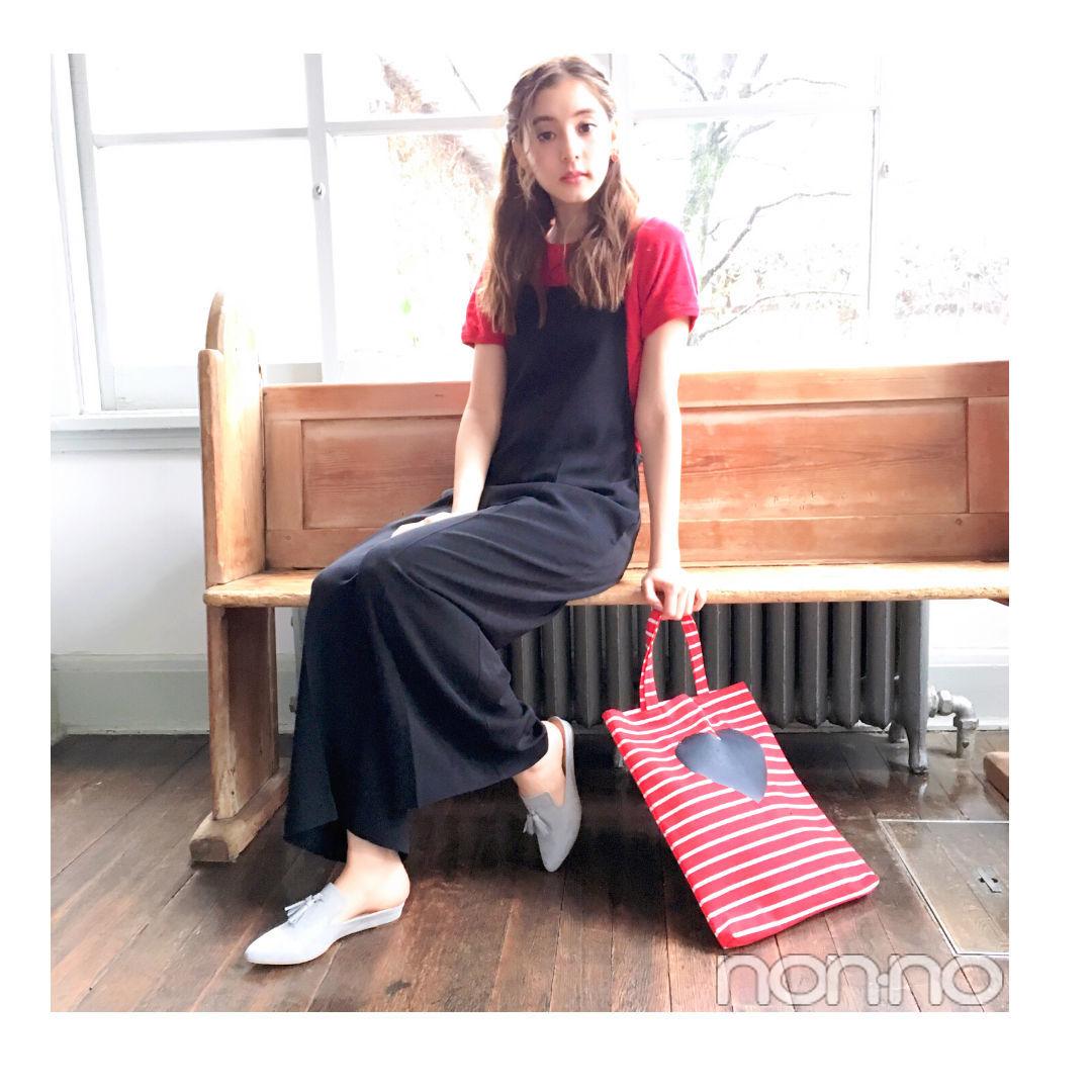 毎日コーデ★新木優子は赤ニットでロンパースを大人っぽくコーデ!_1_1