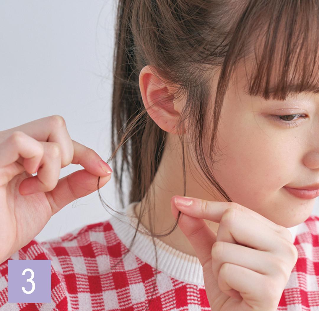 ロングの巻き髪アレンジ♡ ポニーテールは後れ毛巻きで今っぽく!_1_4-3