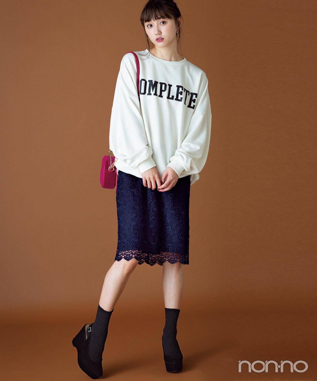 【タイトスカートコーデ4】ロゴスウェット×レースのタイトスカート