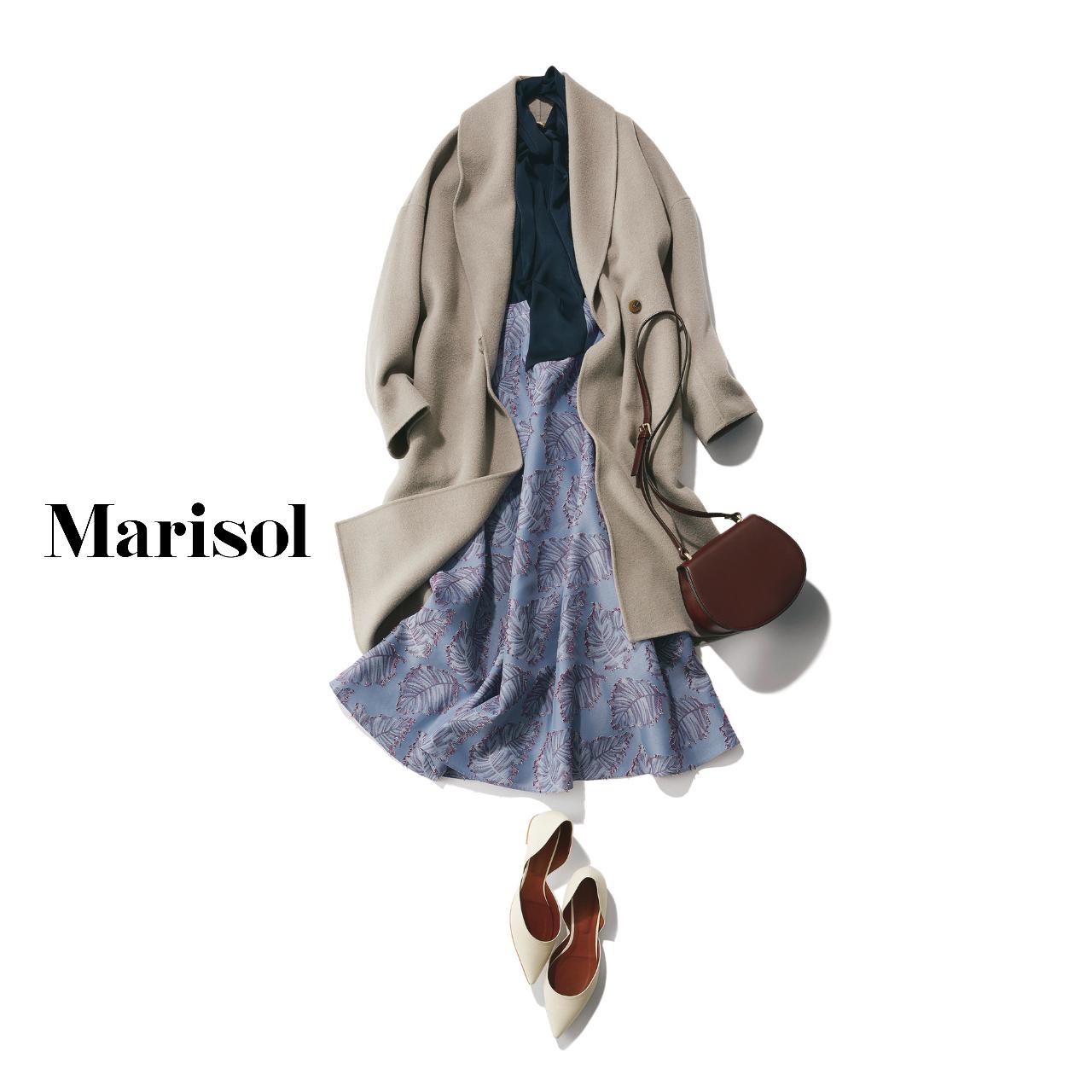 40代ファッション コート×ボウタイブラウス×柄スカートコーデ