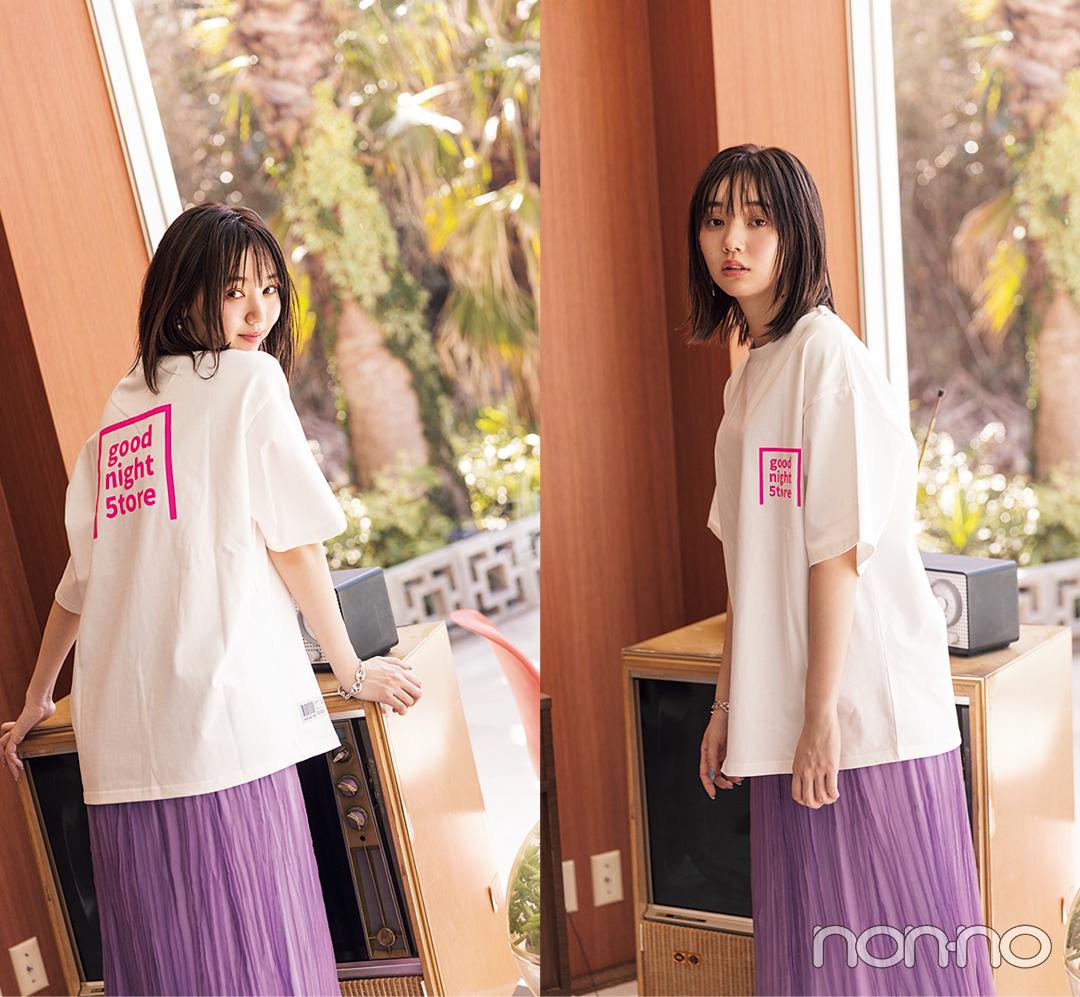 江野沢愛美が着るバックロゴTシャツコーデ14
