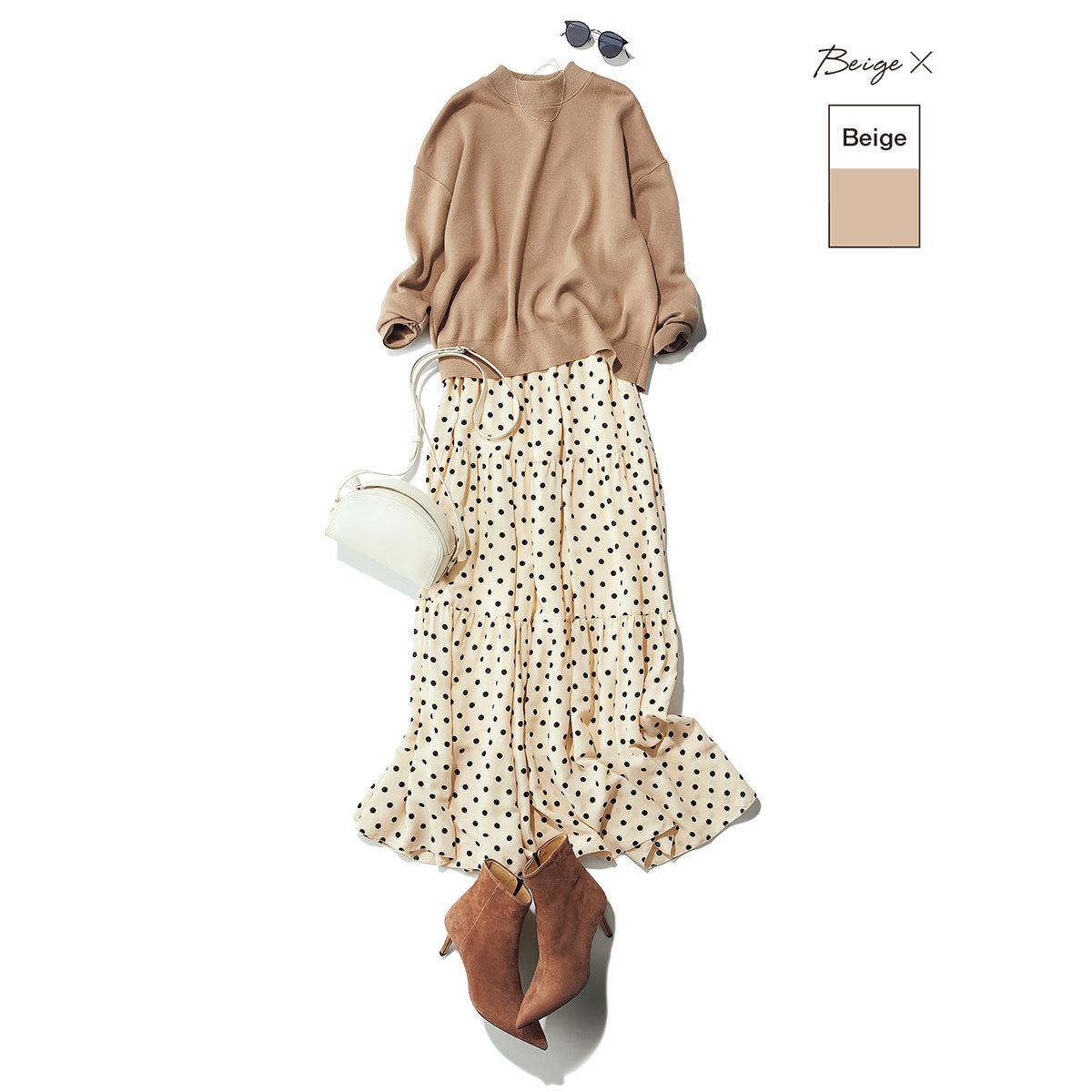 ■Beige ×「ベーシック」淡色  こっくりベージュ×淡ベージュで甘いスカートコーデも品よく