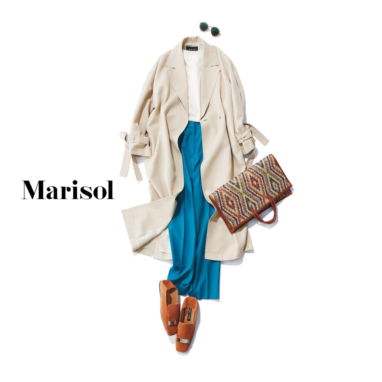 40代ファッション 春トレンチコート×ブルーパンツコーデ