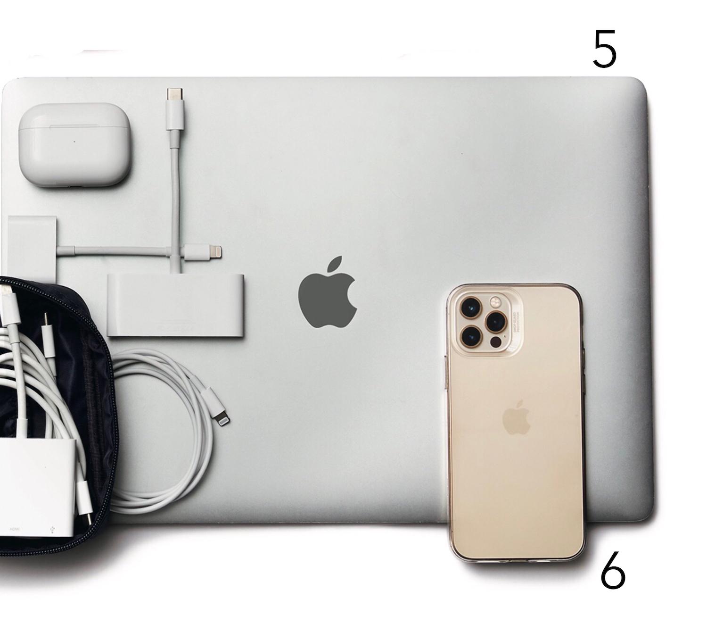 ❺ MacBook ❻ iPhone ❼歯ブラシセット