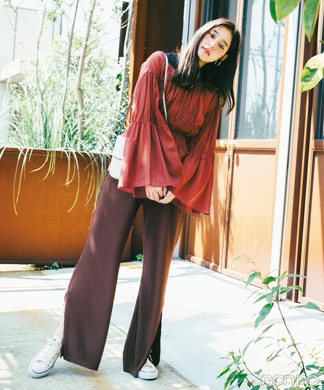 新木優子は秋先取りのブラウングラデにトライ!【毎日コーデ】