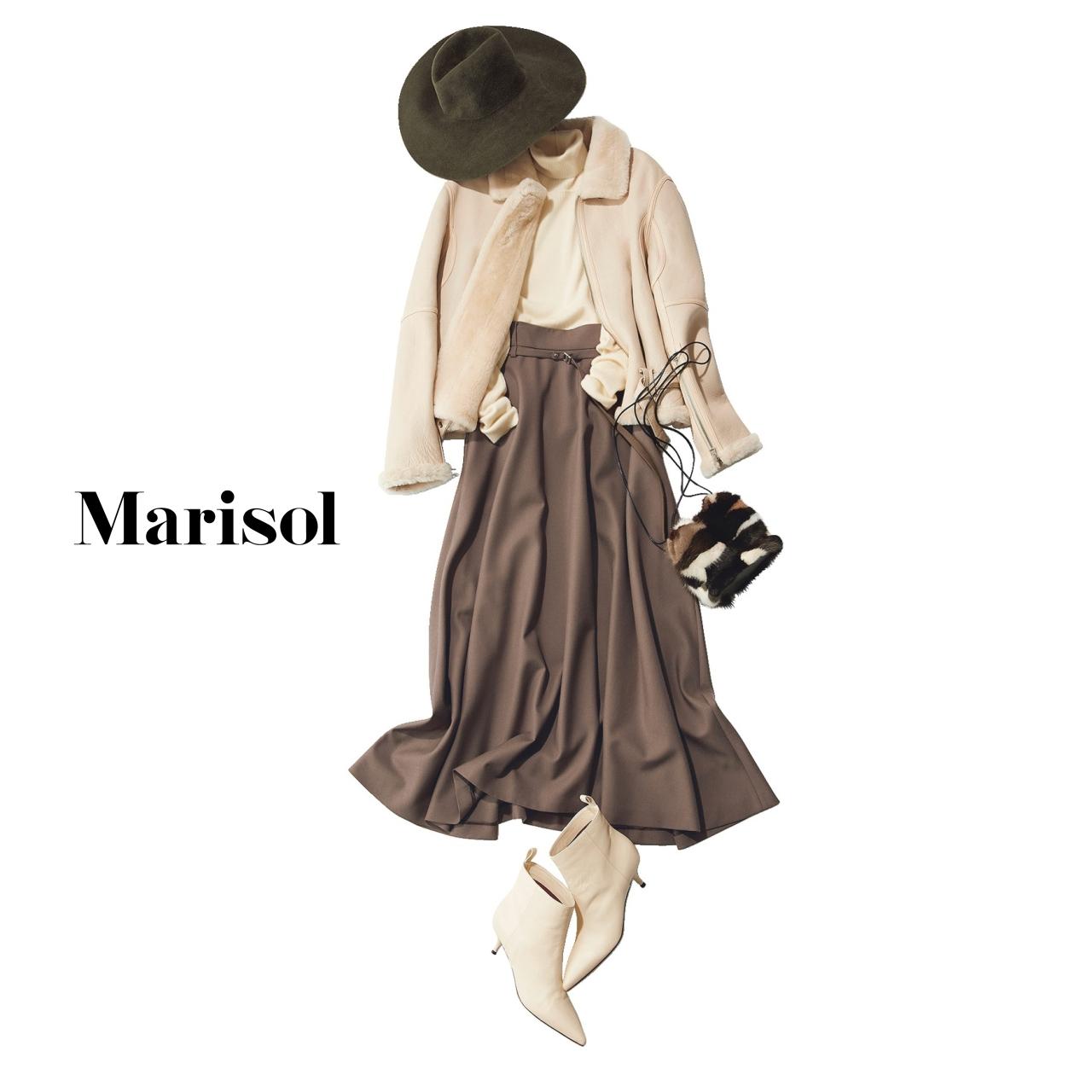 40代ファッション コート×スカート×ショートブーツコーデ