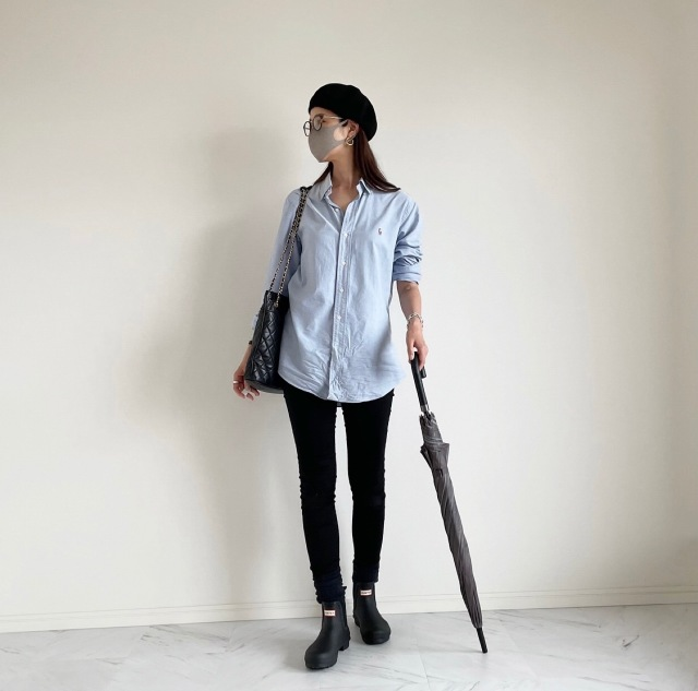 終日雨の日の楽ちんシャツコーデ :OOTD【40代 私のクローゼット】_1_3