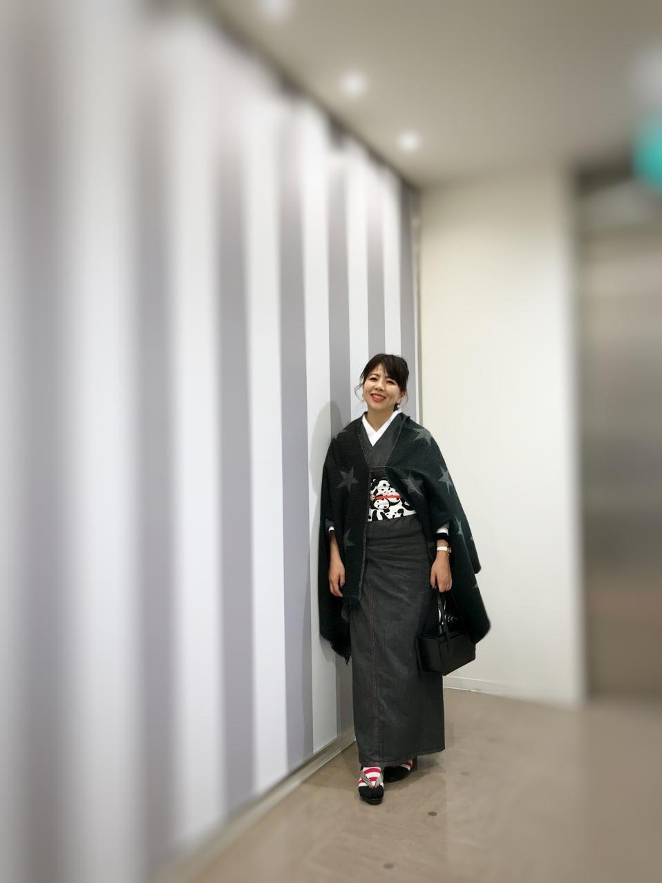ブラックデニムの着物にパンダの帯で上野散歩_1_3