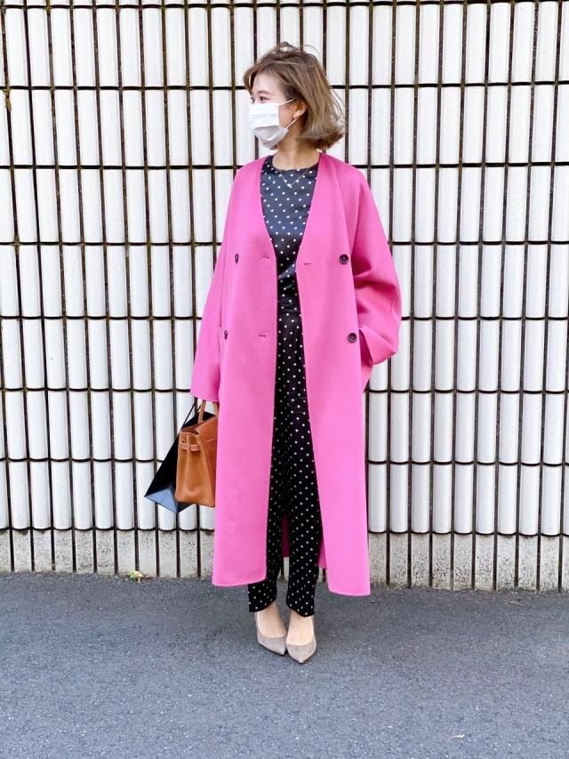 【アラフォーになってもピンクが好き❤︎】街で目を引く派手色コート_1_1