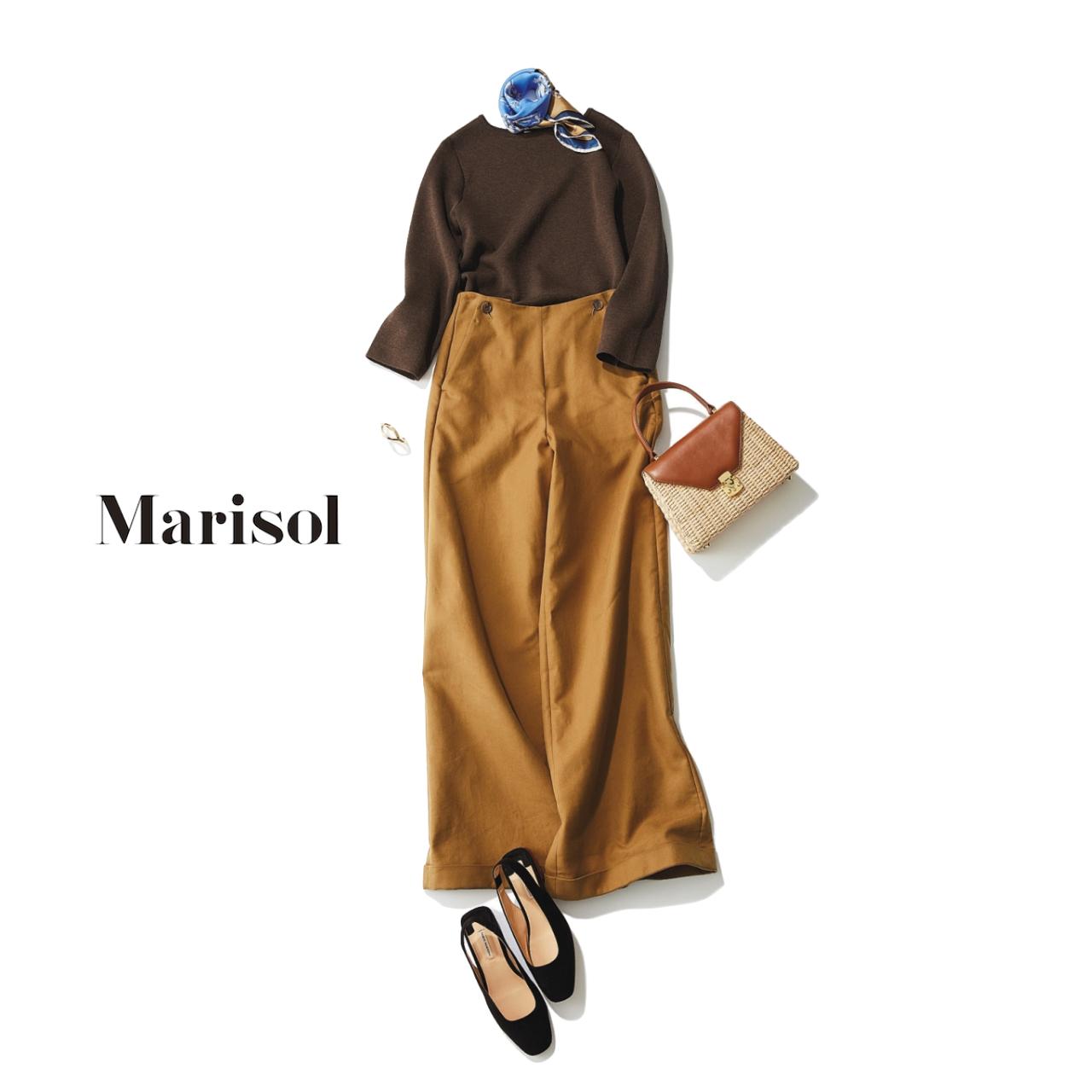 ファッション ブラウンニット×ワイドパンツコーデ