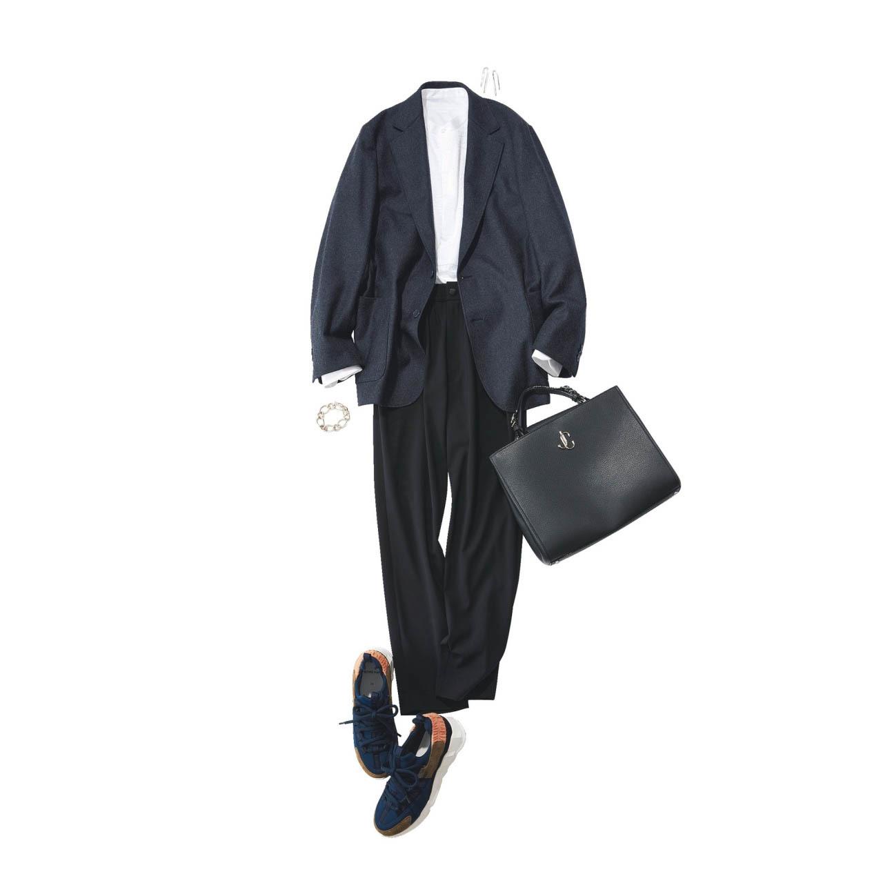 ジャケット×白シャツ×黒パンツ×スニーカーコーデ
