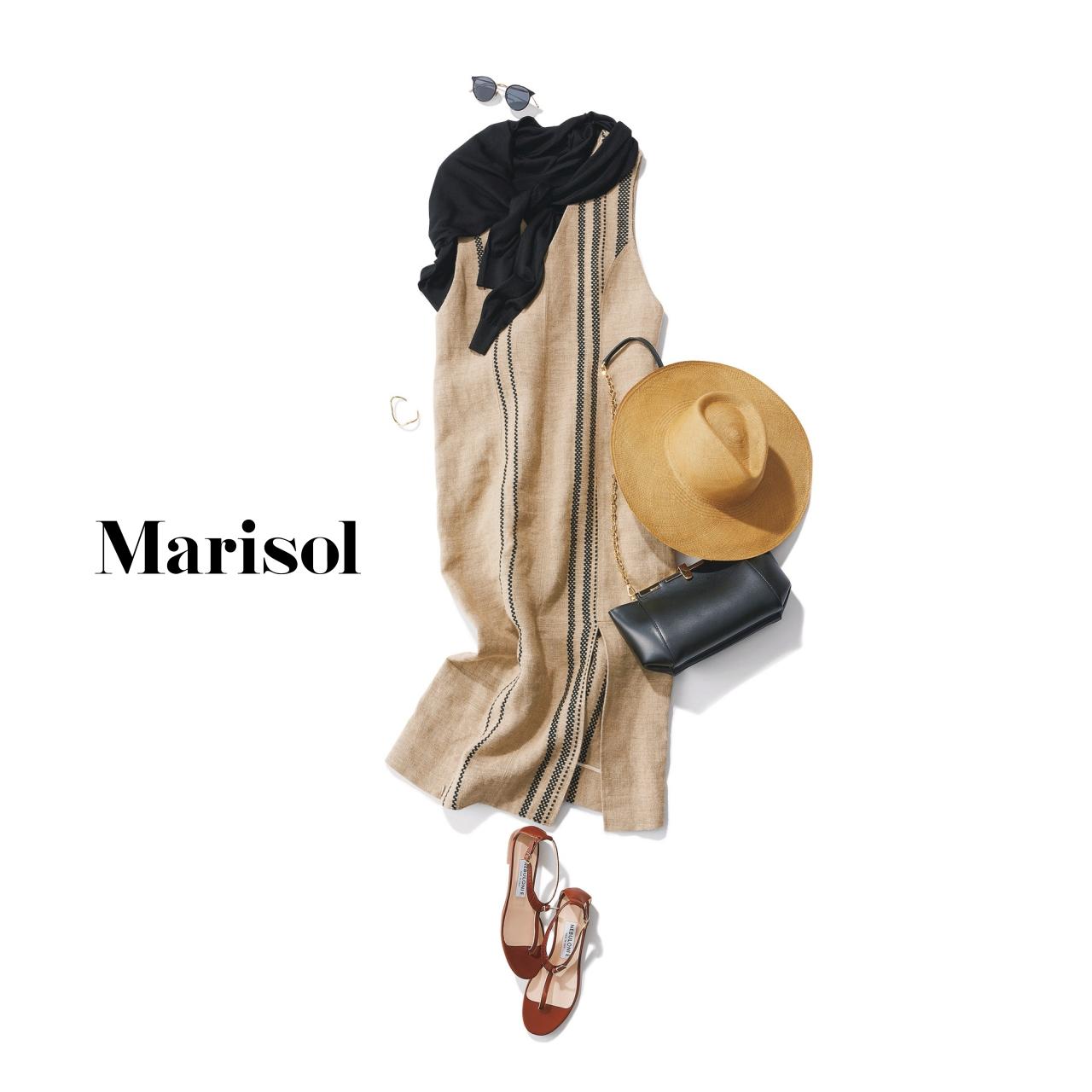 40代ファッション リネンワンピースコーデ