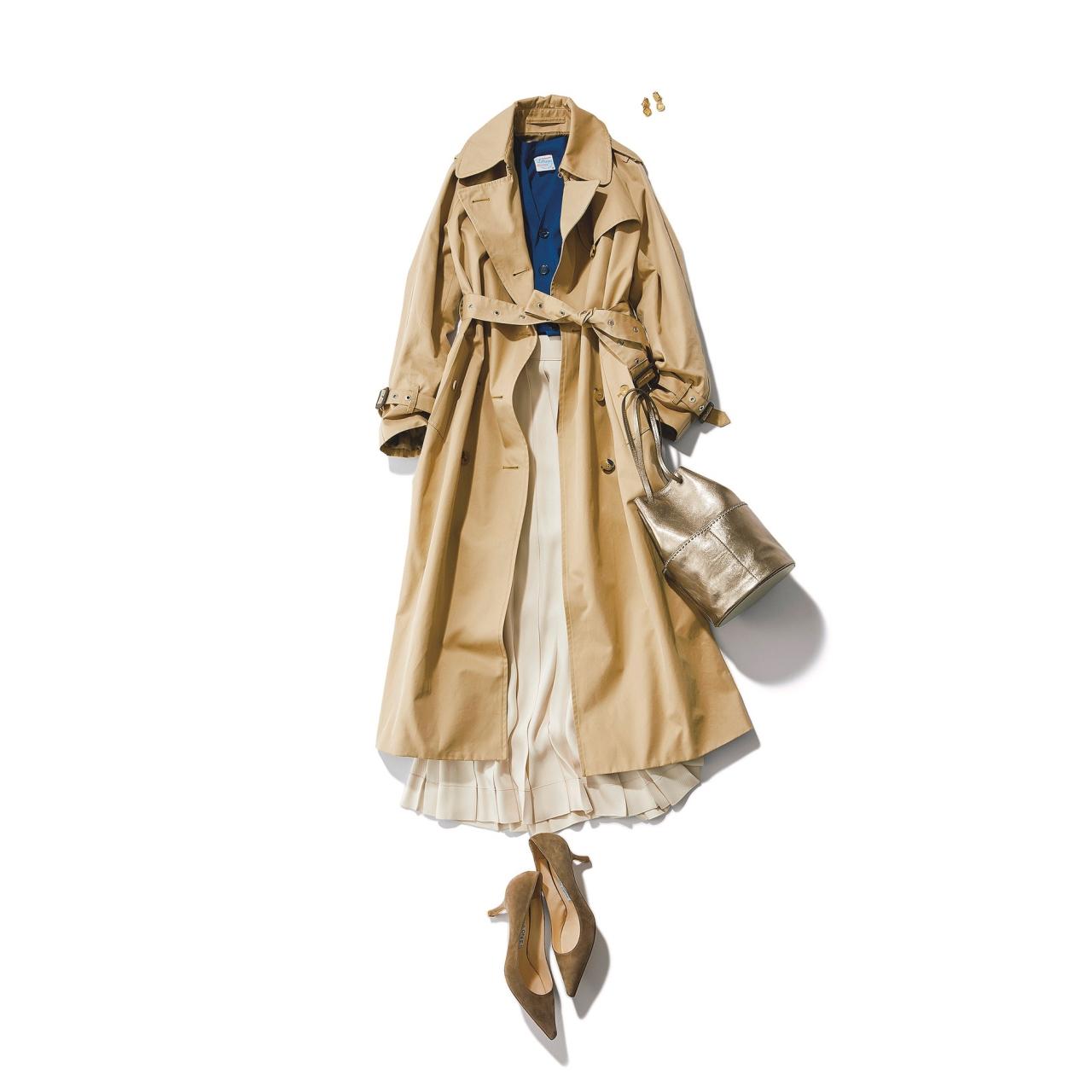 ベージュのトレンチコート×ロングスカートのファッションコーデ