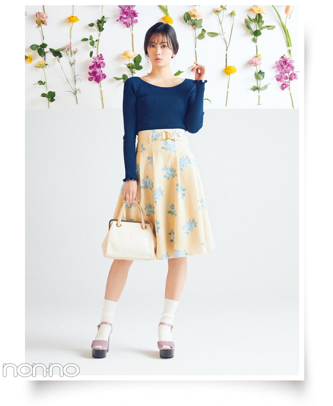 春はダズリンのベルトつき花柄スカートで簡単スタイルUP!_1_3