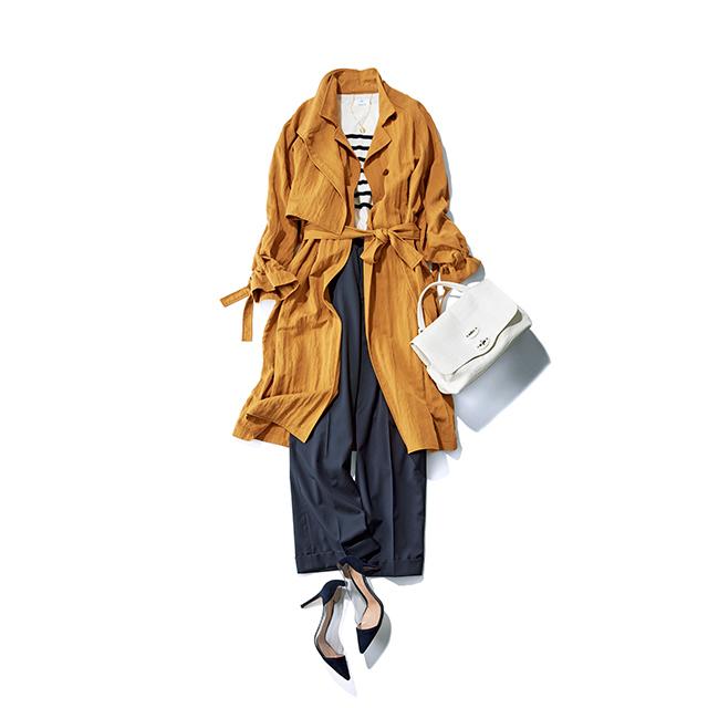 濃色ワイドパンツを軽やかに見せるコートの柔らかな表情