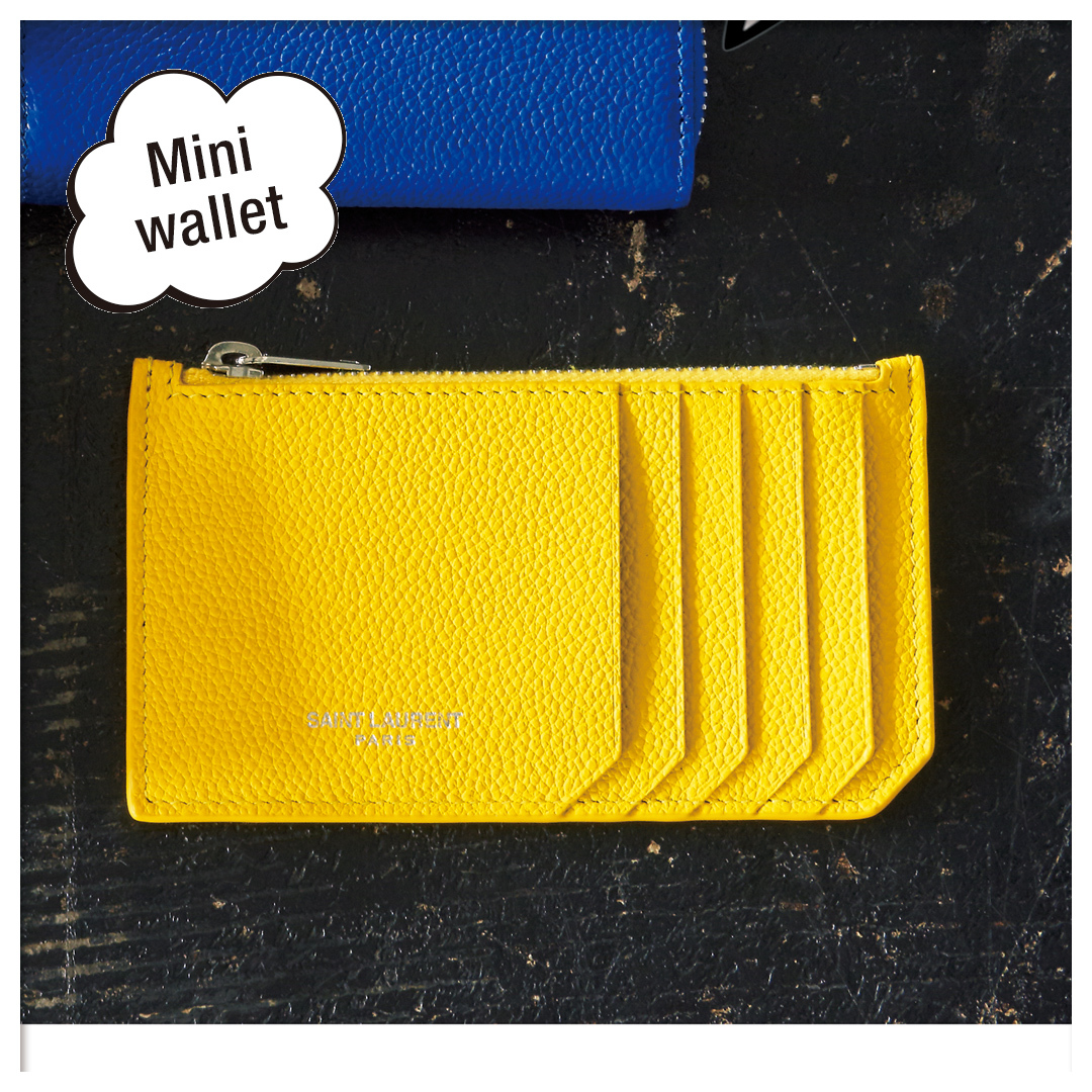FRAGMENT ZIPPED CARD CASE IN GRAINED LEATHER(458583B680N7113)|サンローラン