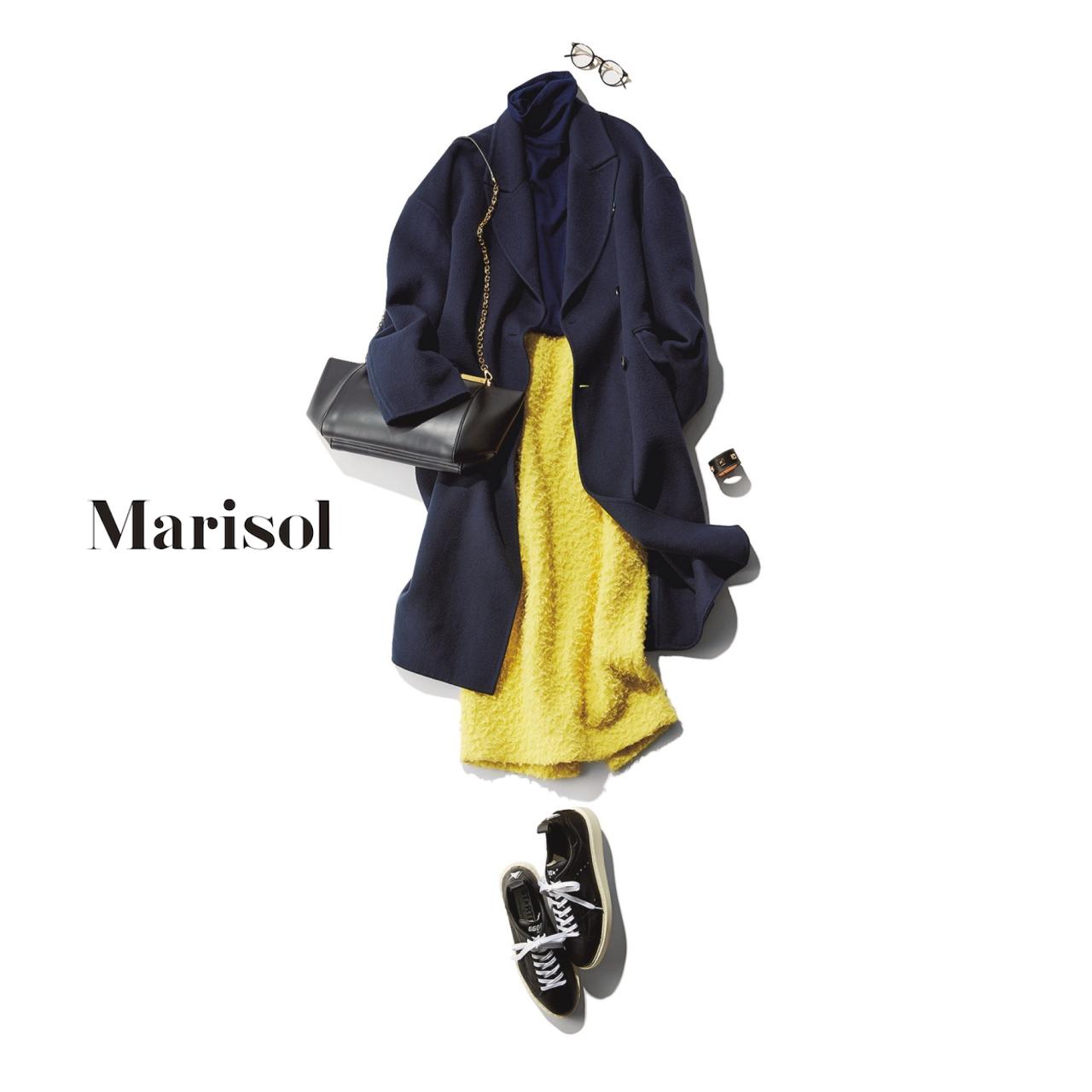40代ファッション ネイビーコート×イエロースカートコーデ