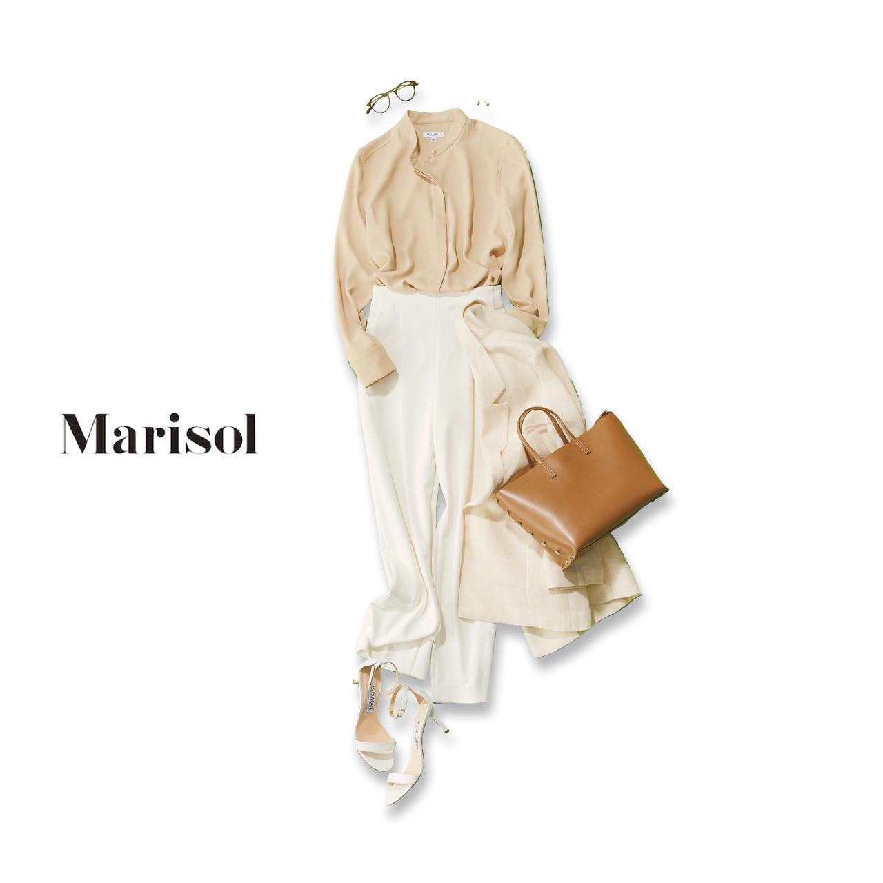 40代ファッション ベージュブラウス×白パンツコーデ