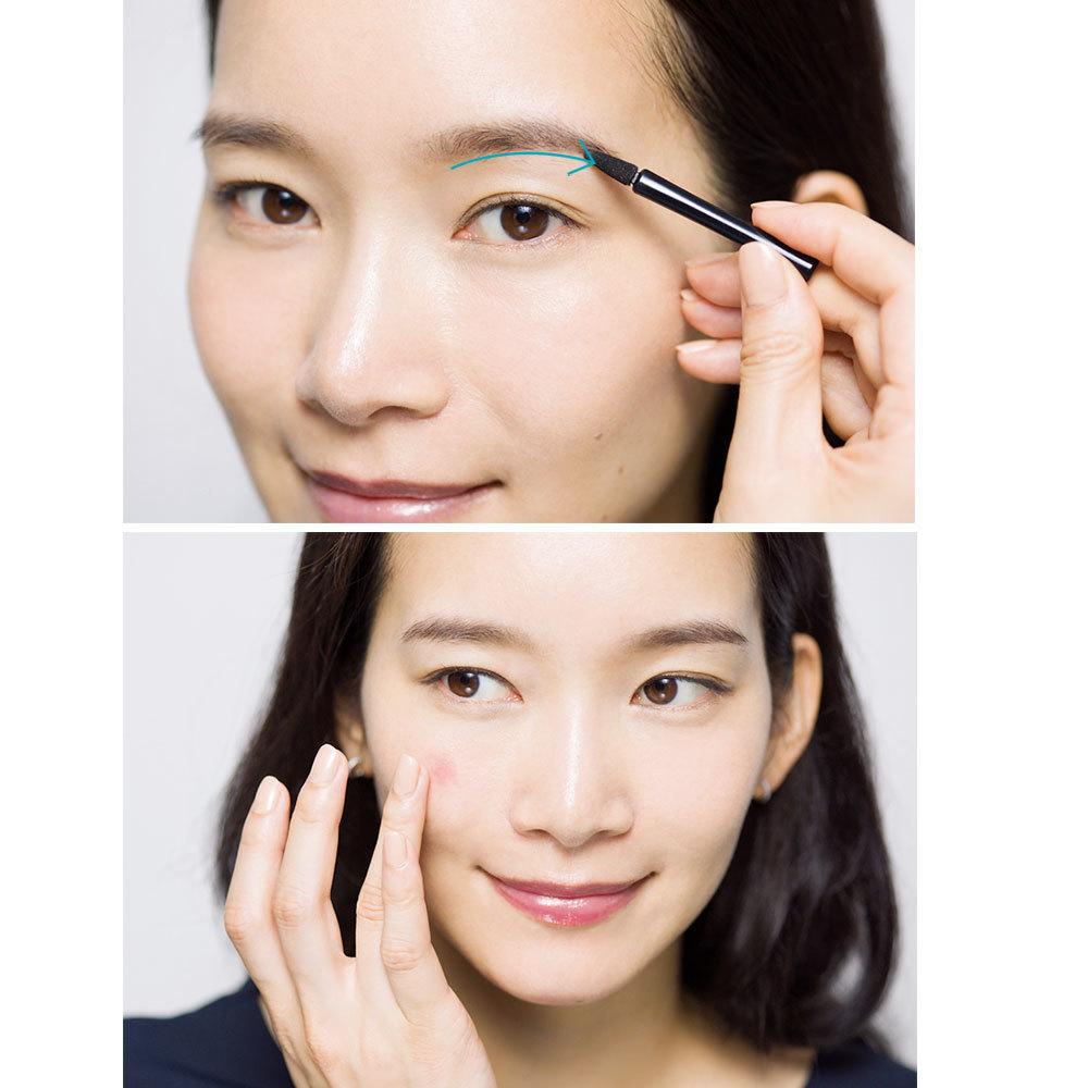 ブラウンのアイパレットで眉&アイメイク。締め色をチップに取り、眉下のラインを引く。目もとも締め色を上の 目のキワ&下目じり側1/3に。チーク&リップはマルチカラーを使用。頰の高い部分に指でなじませ、唇はじか塗り。
