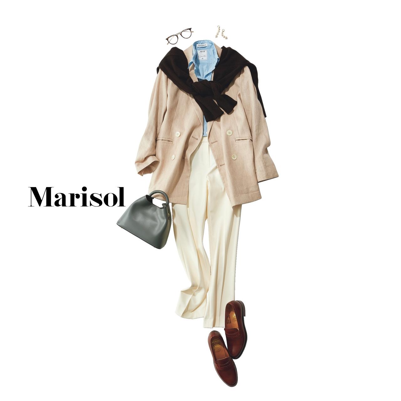 40代ファッション シャツ×白パンツ×ベージュジャケット×肩がけニットコーデ