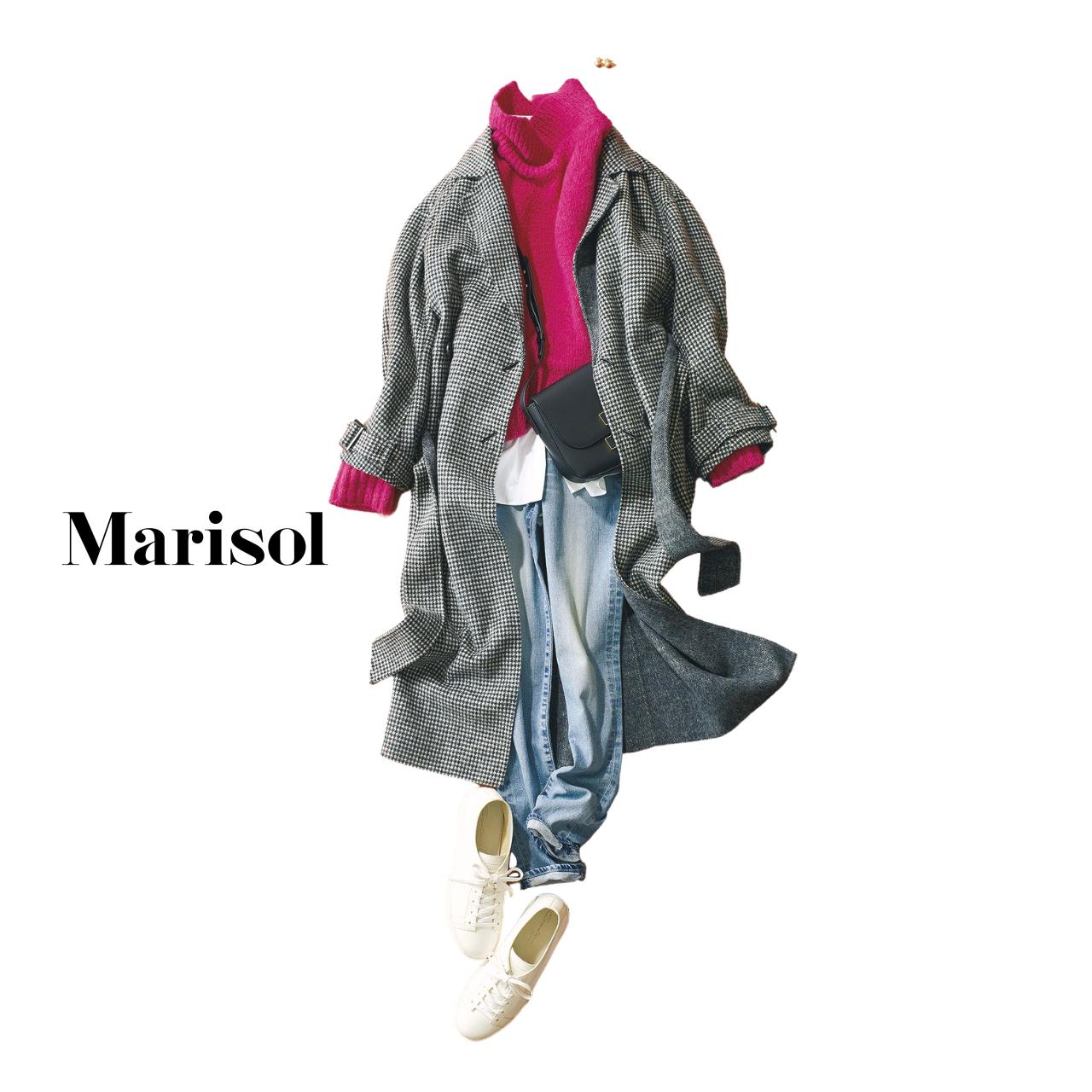 40代ファッション ニット×デニム×チェック柄コート×スニーカーコーデ