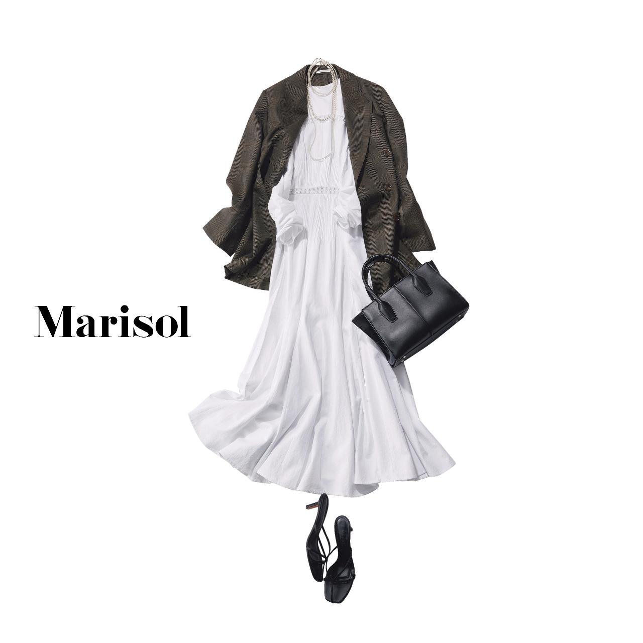 40代ファッション 白ワンピース×グレンチェック柄ジャケット コーデ
