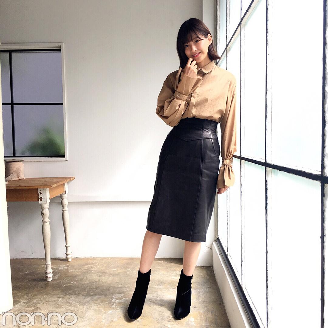 渡邉理佐はこの秋、シャツ&スカートでフェミニンコーデに挑戦中♪_1_1