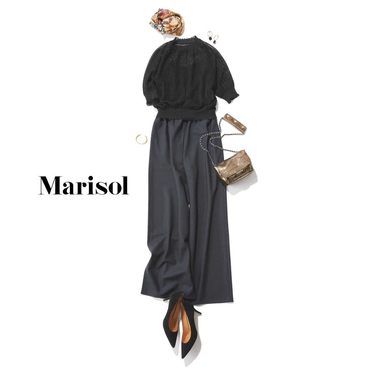 40代ファッション 黒シースルーニット×ワイドパンツコーデ