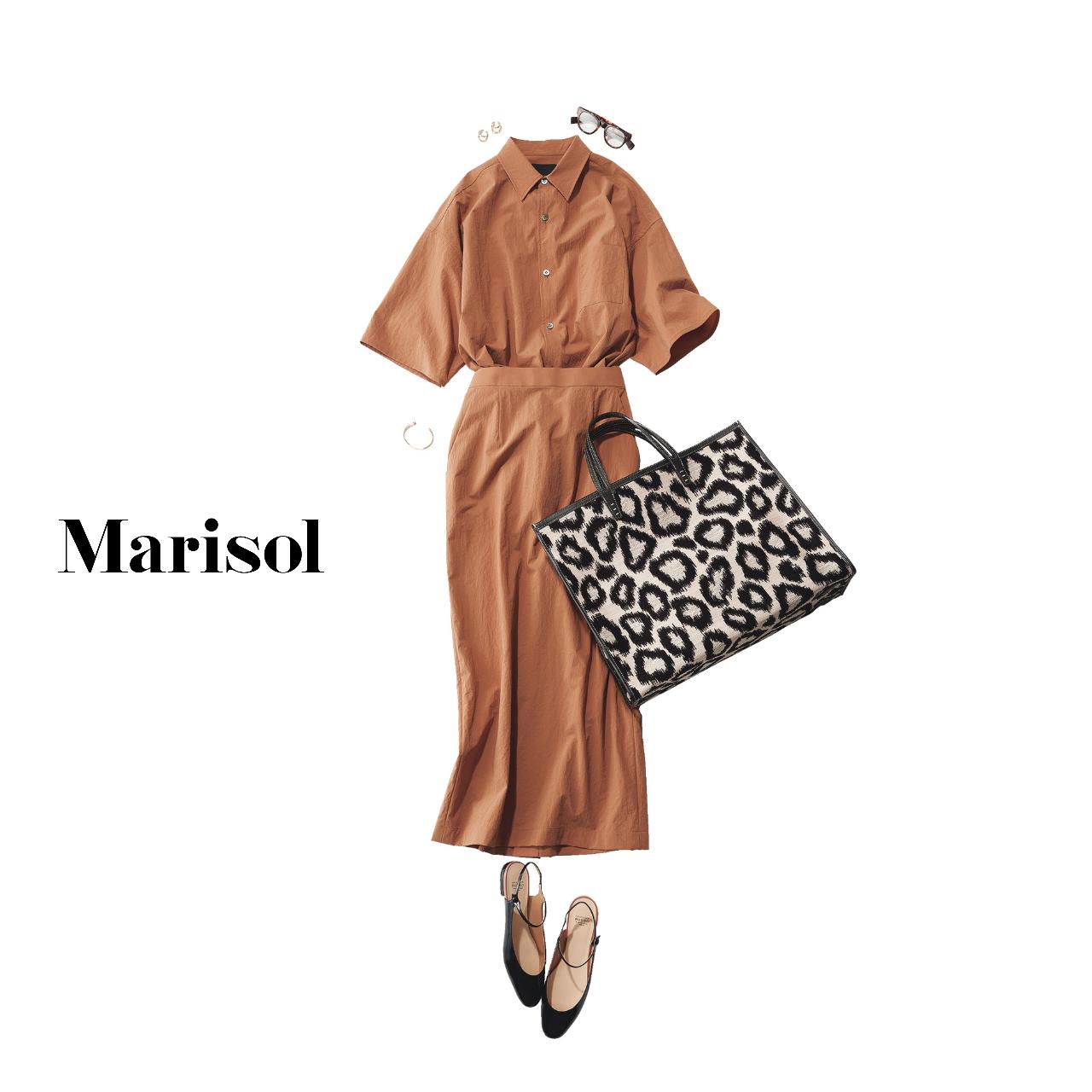 40代ファッション シャツ×スカートコーデ