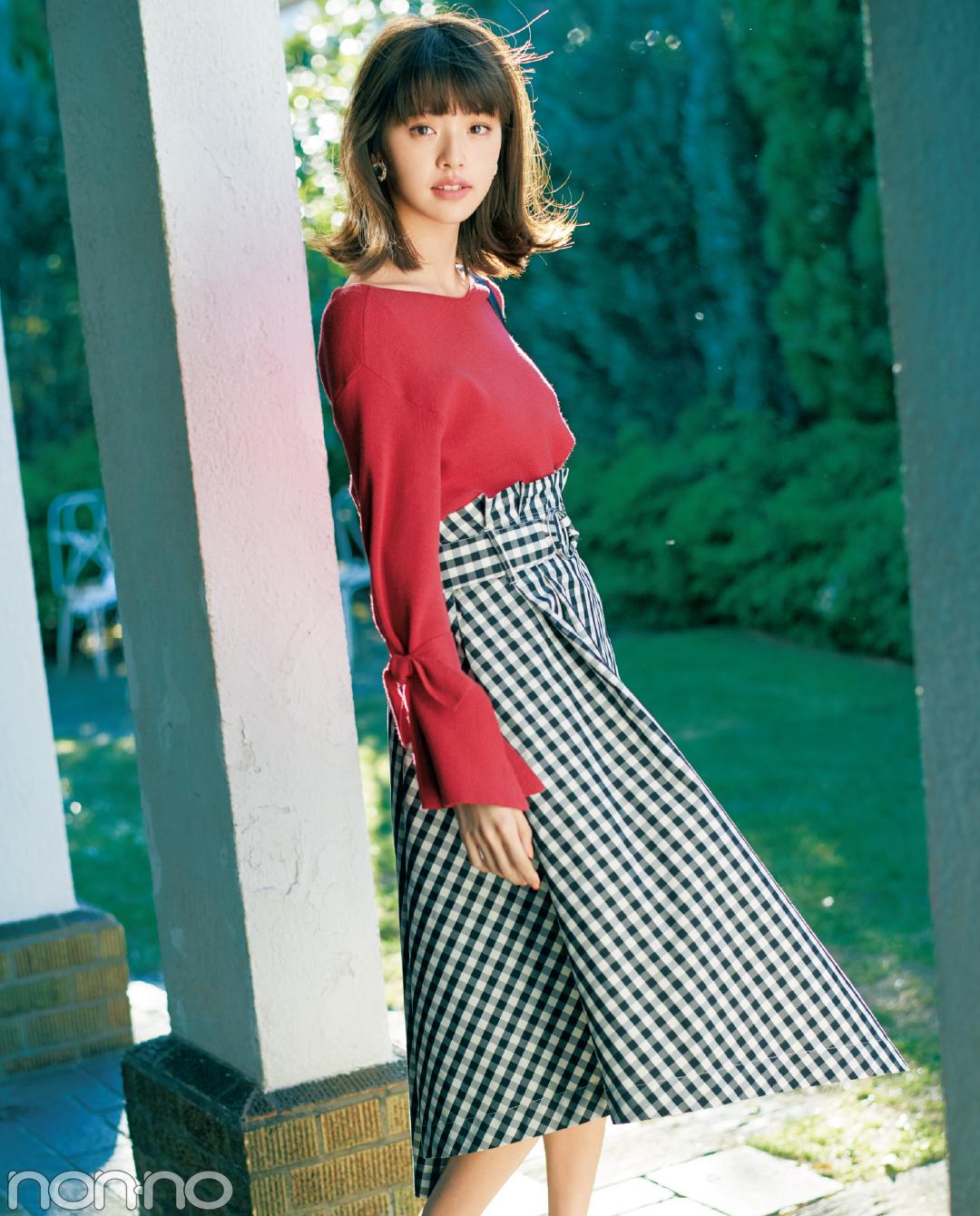 ギンガムチェックのスカート、春一番はこう着る!_1_2