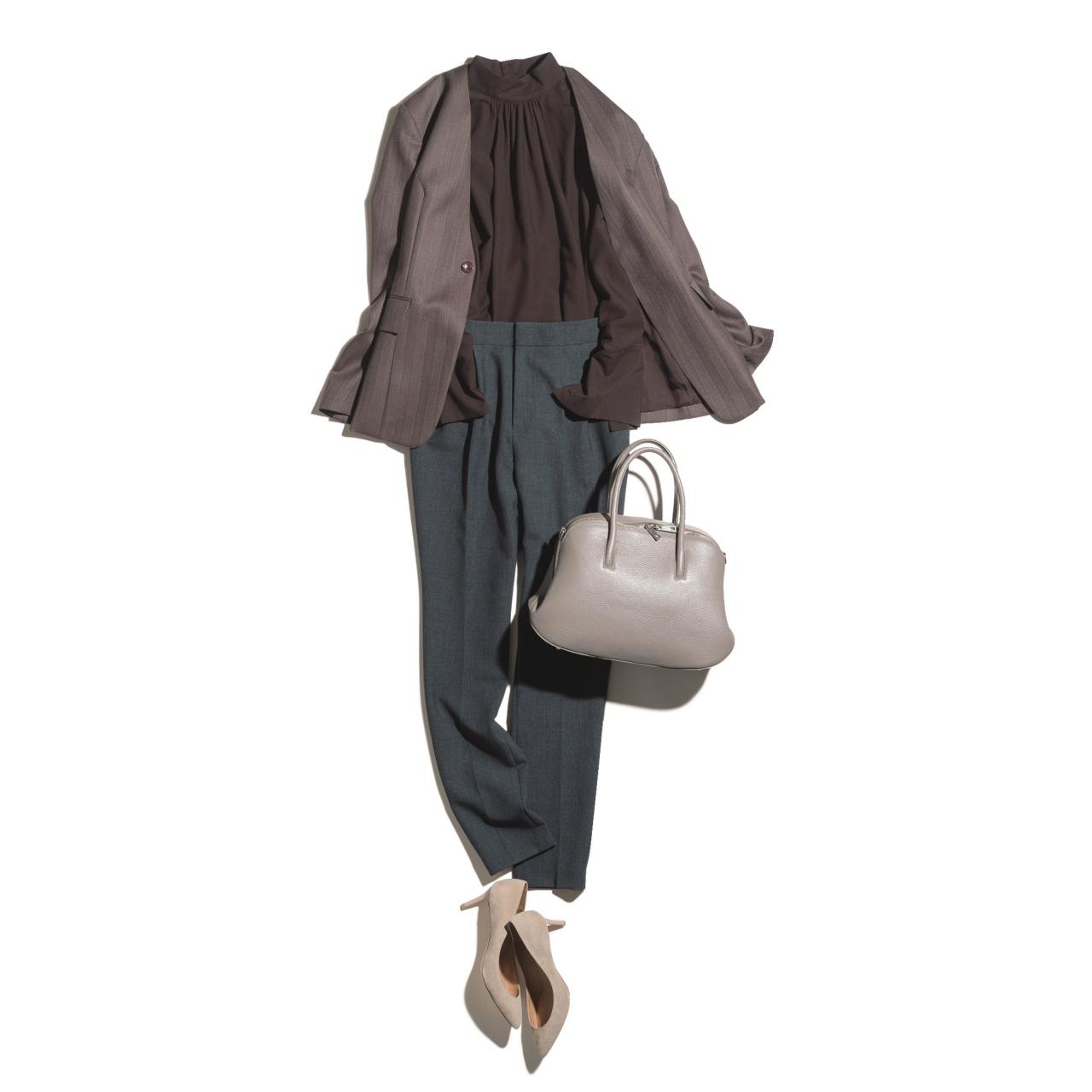 ブラウン系ジャケット×パンツのファッションコーデ